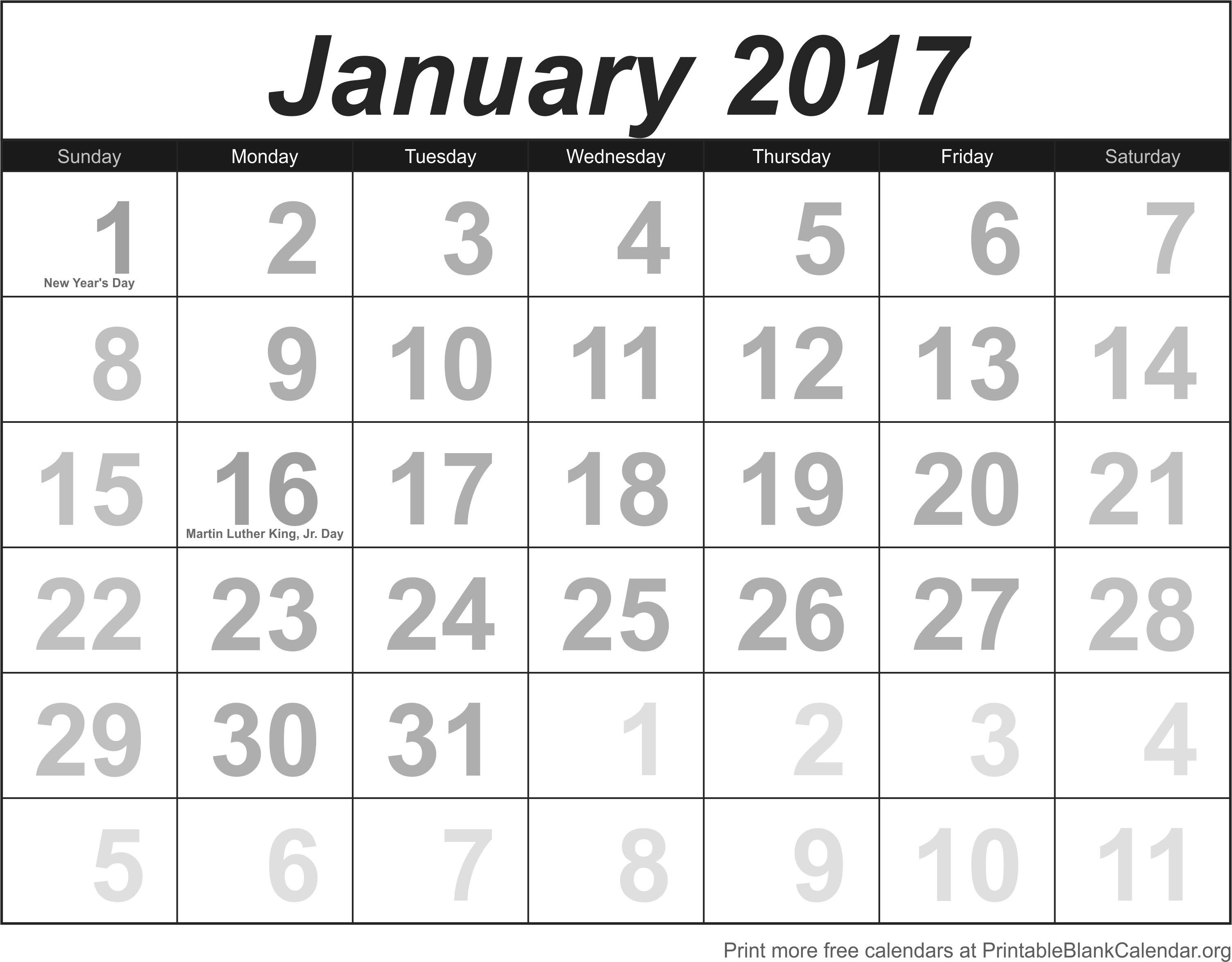 January 2017 Printable Calendar