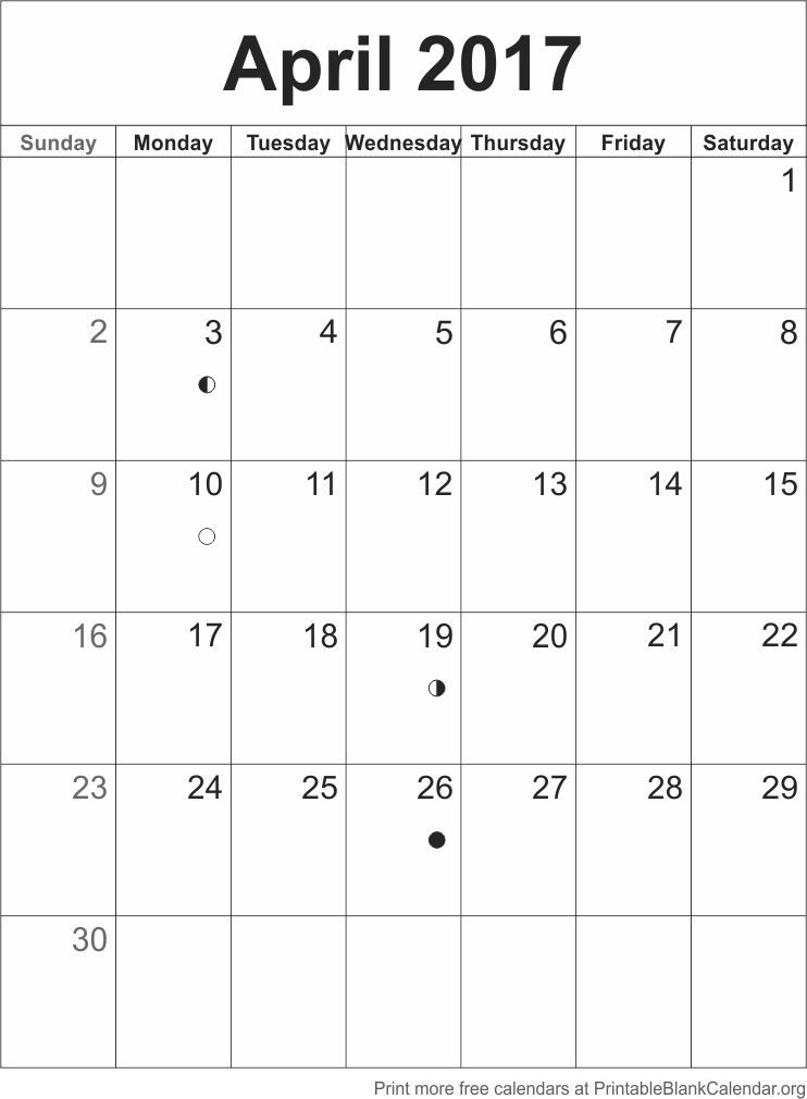 Calendar April Blank : April blank calendar template printable
