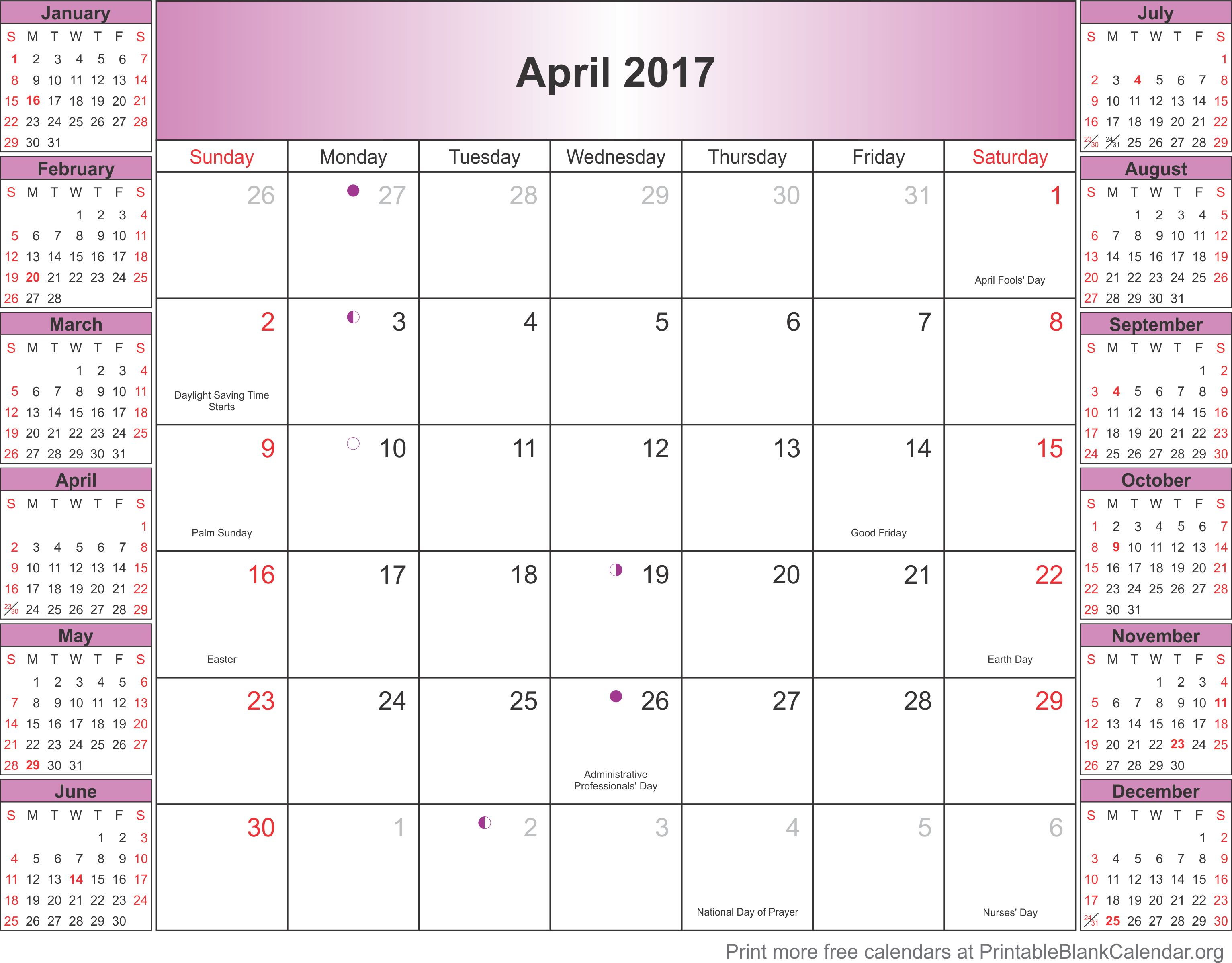 April 2017 calendar with holidays - Printable Blank ...