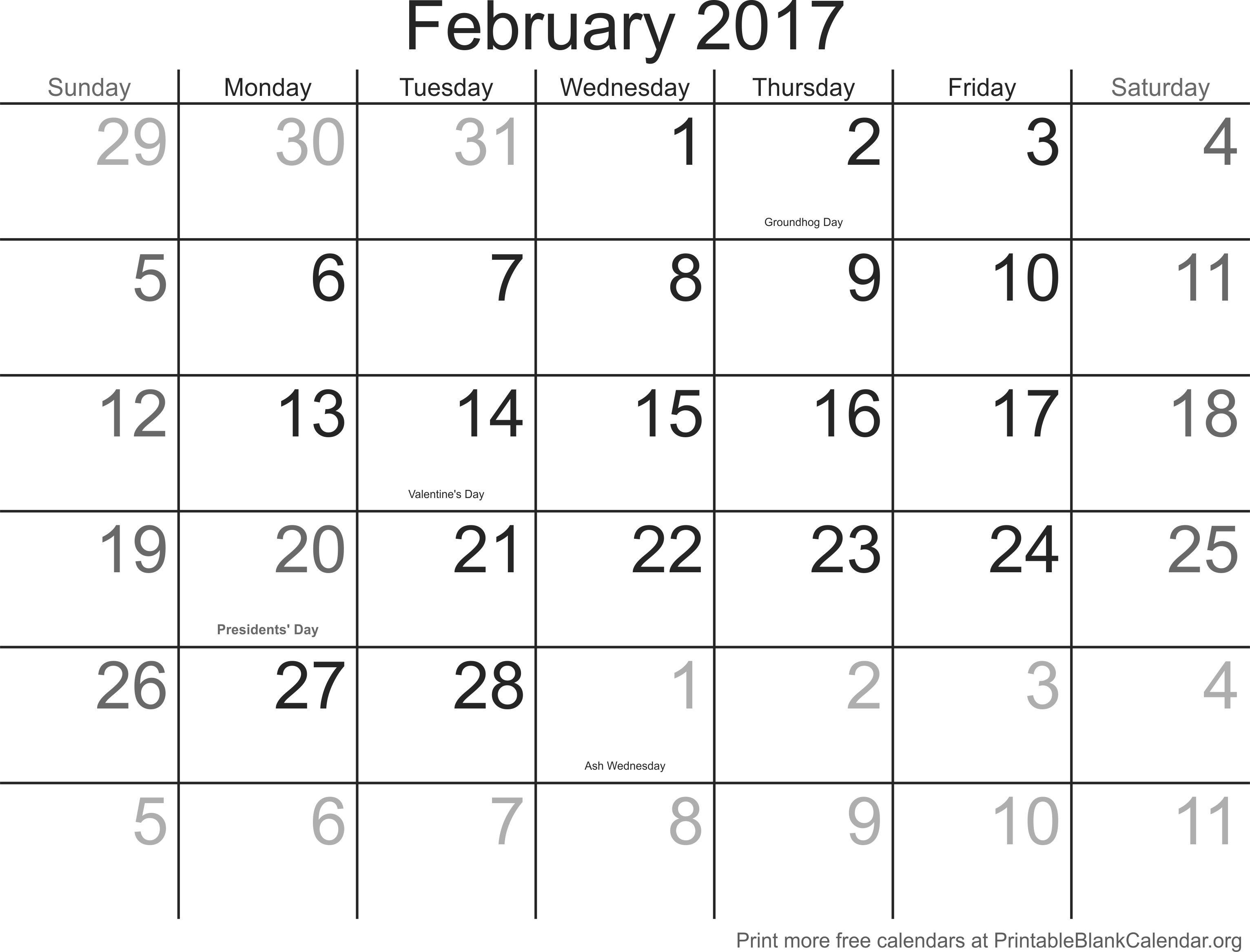 February 2017 Printable Calendar