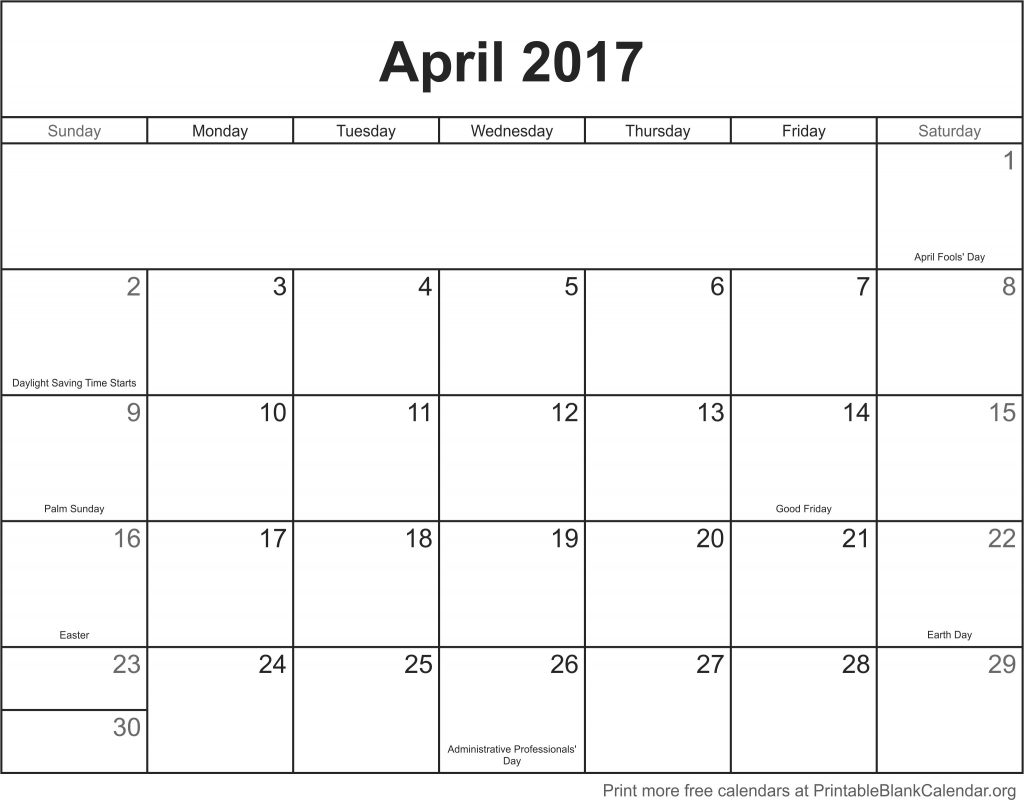 Calendar April Print : April printable calendar blank