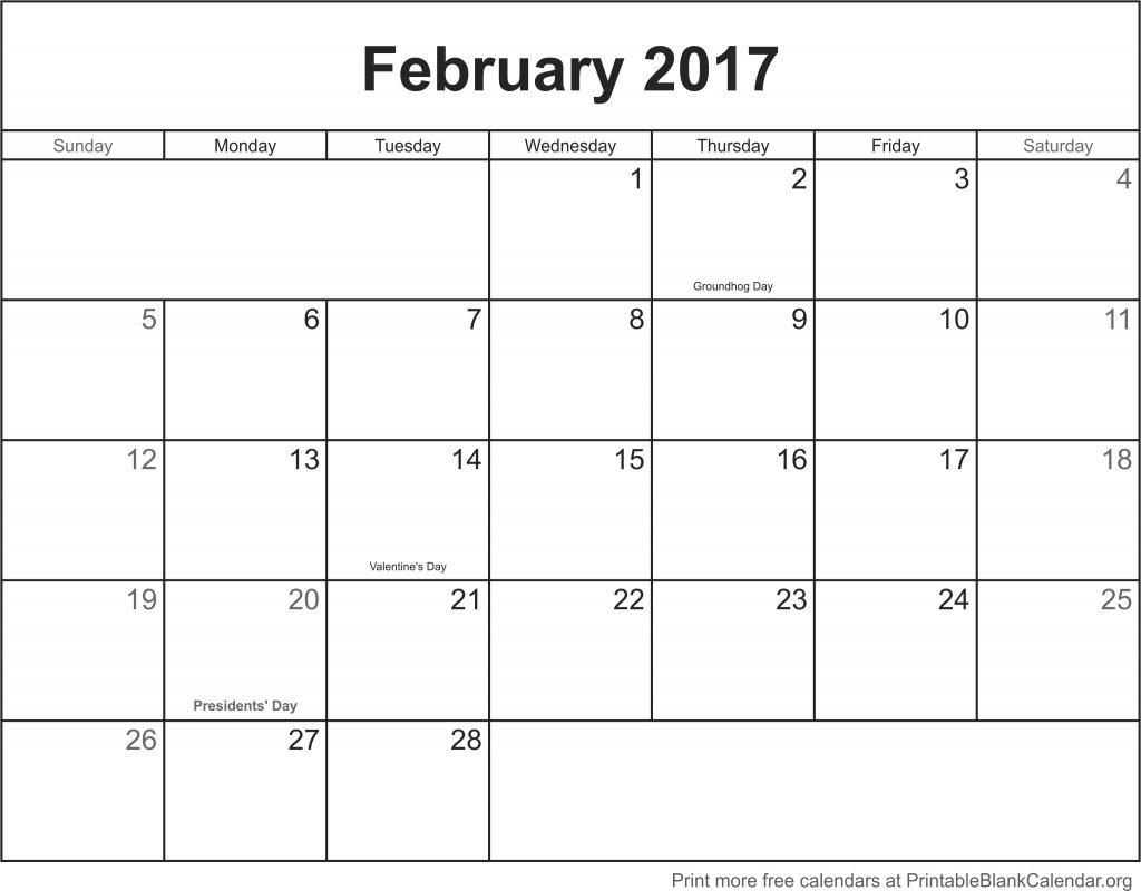 February 2017 Printable Blank Calendar Printable Blank