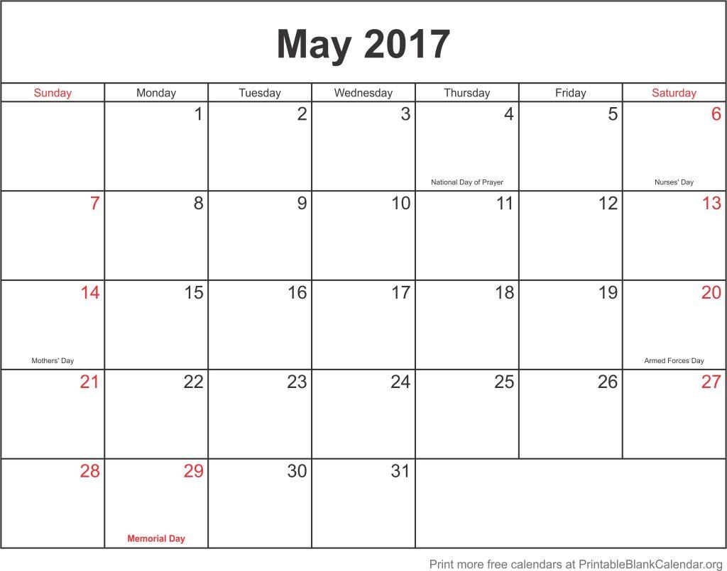 May 2107 Printable Calendar Printable Blank Calendar Org