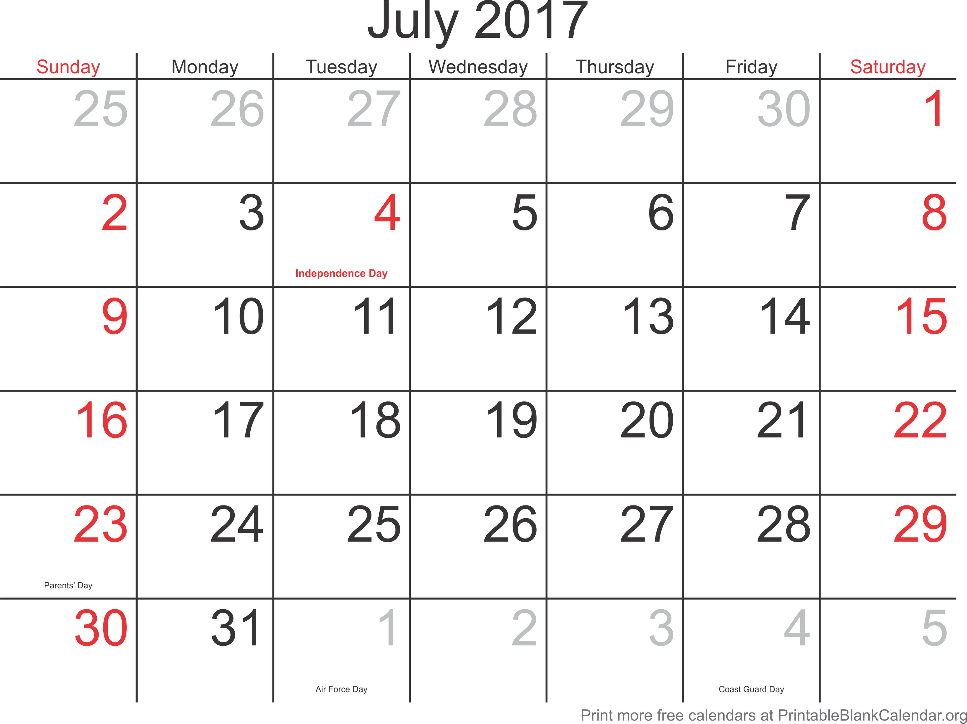 Blank Calendar Of July : July printable calendar blank