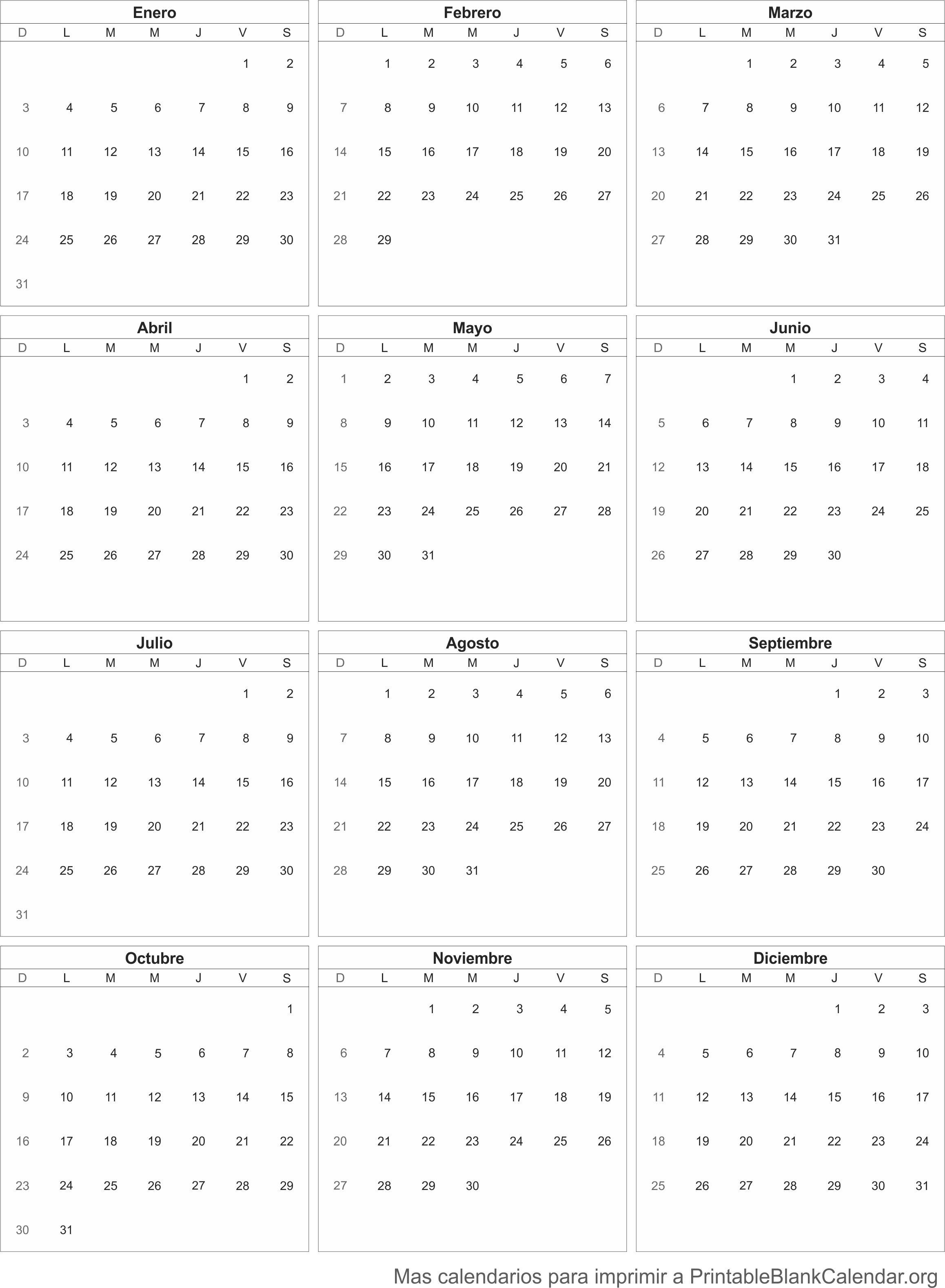 Calendario para imprimir 2016
