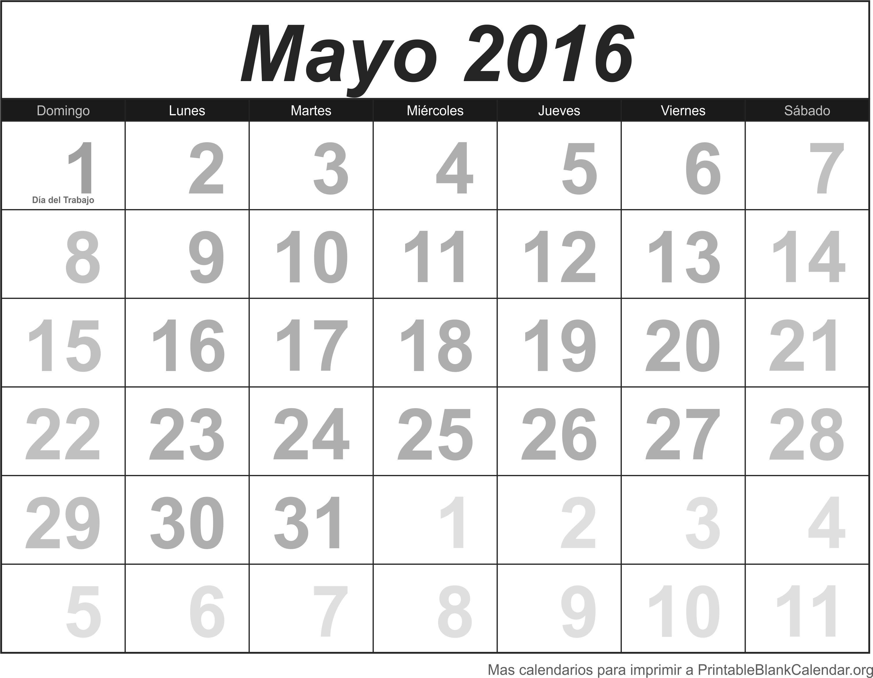 Calendario May 2016