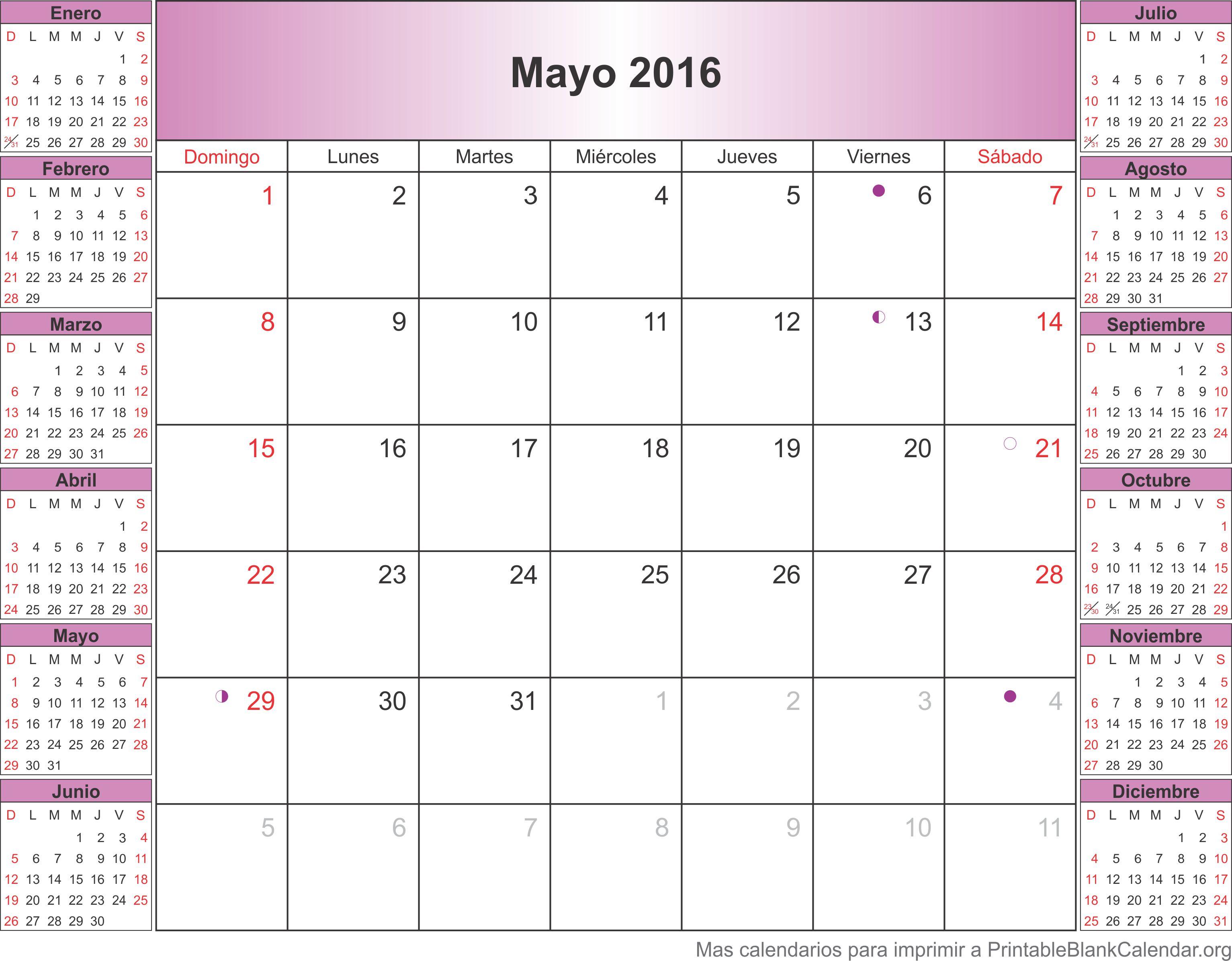 Calendario Mayo 2016