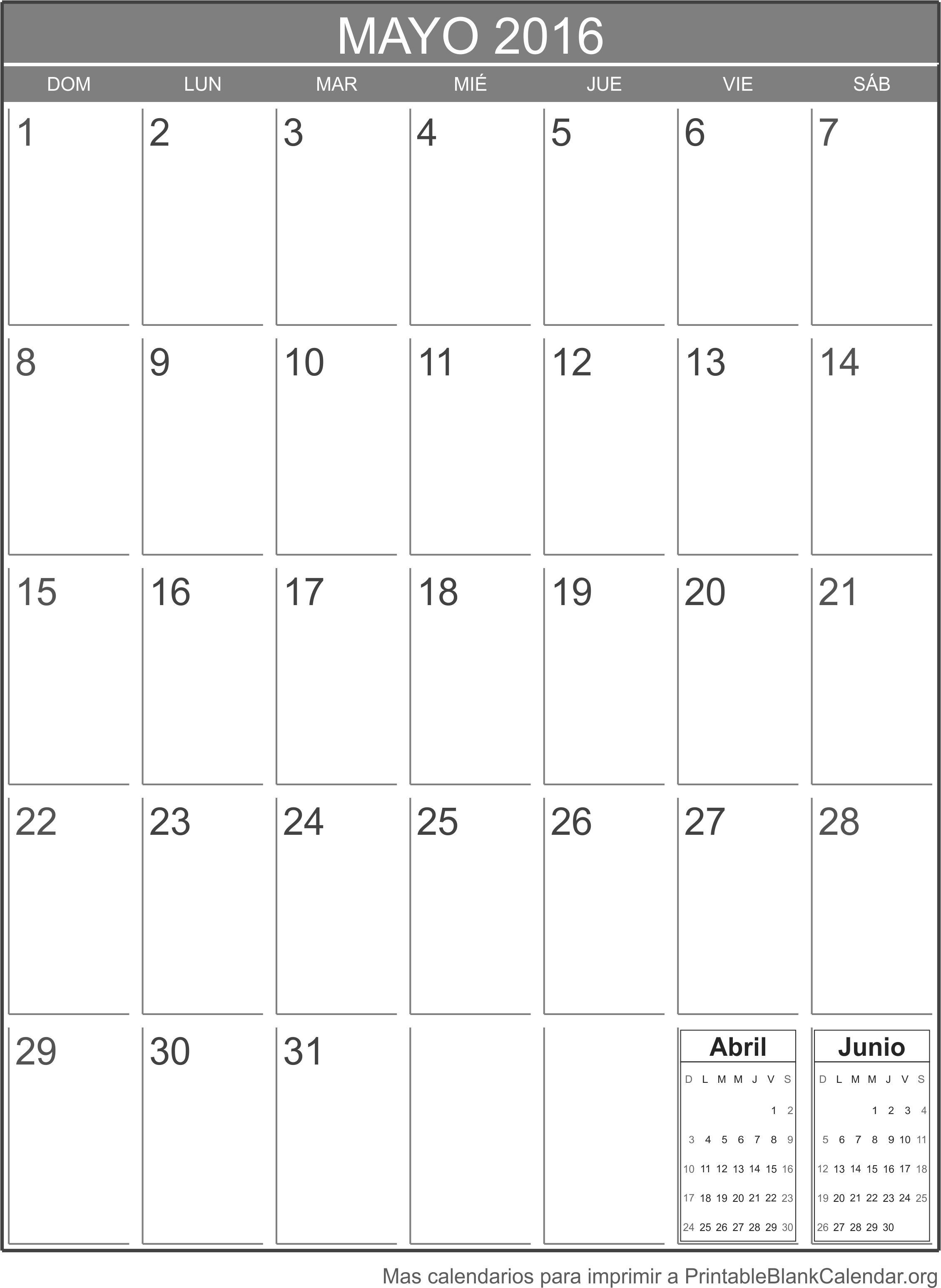 Mayo 2016 calendario