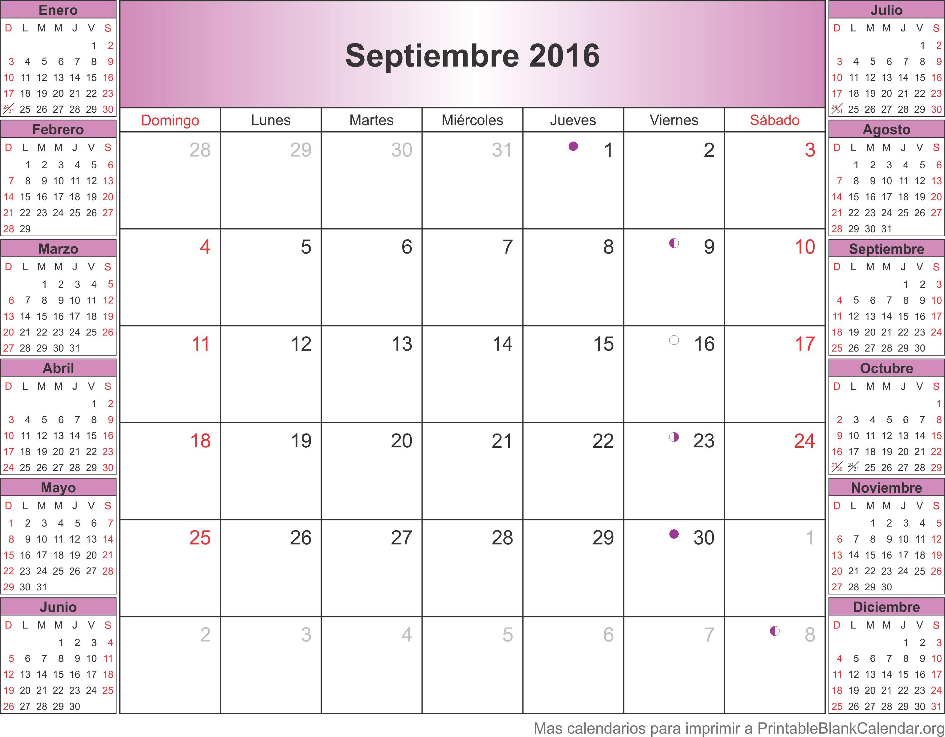 calendario sep 2016
