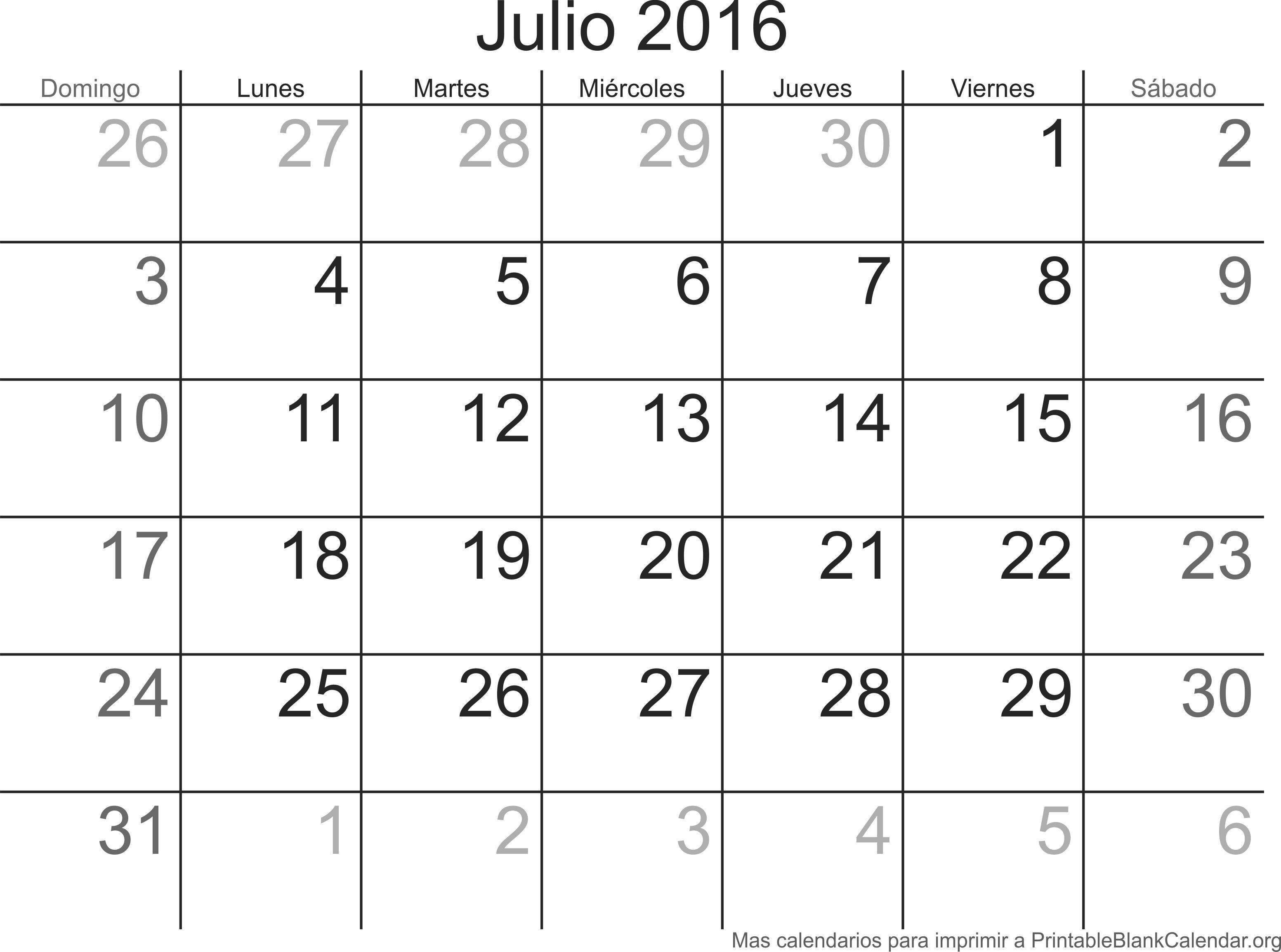 jul 2016 calendario