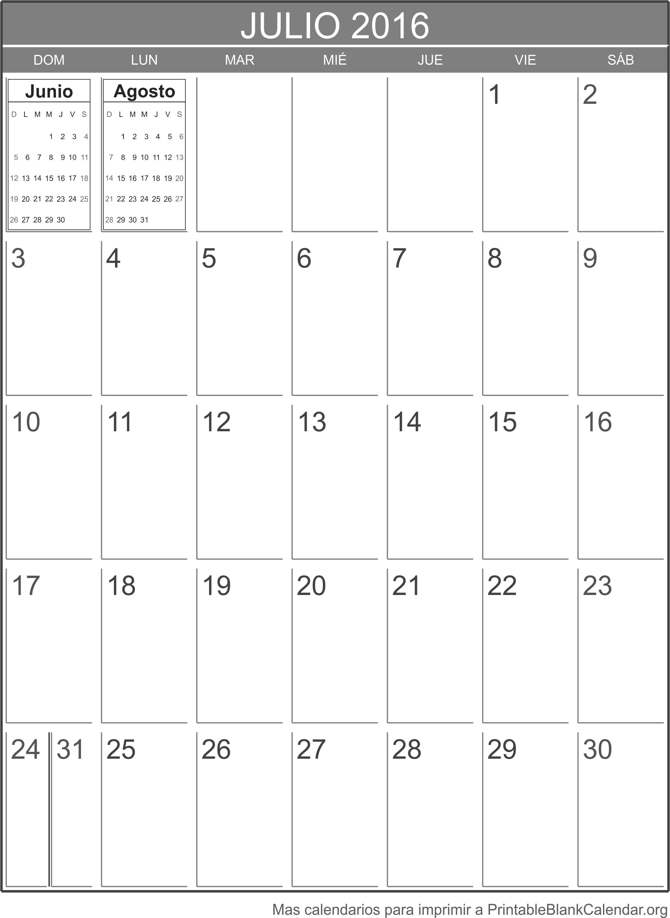 julio 2016 calendario