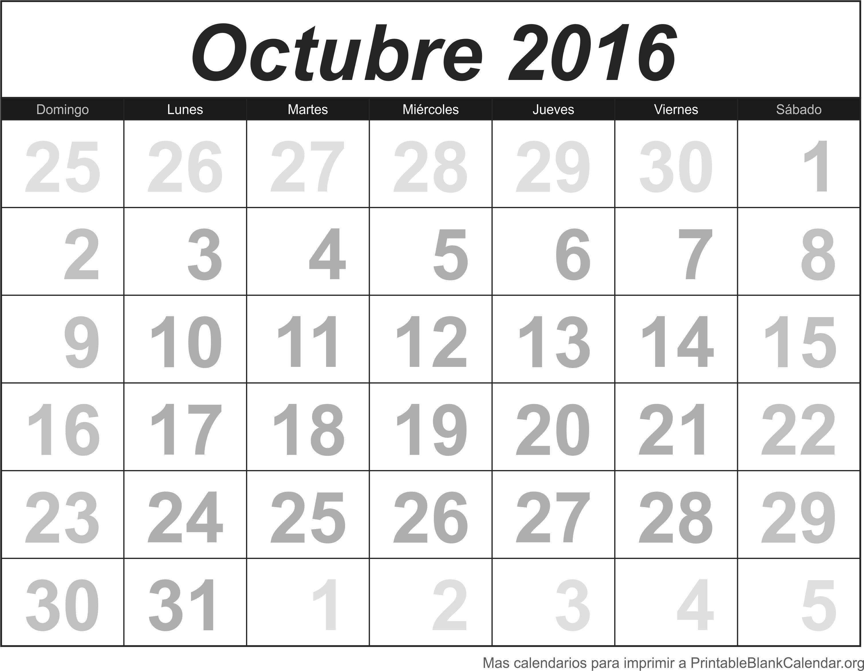 Calendario Oct 2016 para imprimir