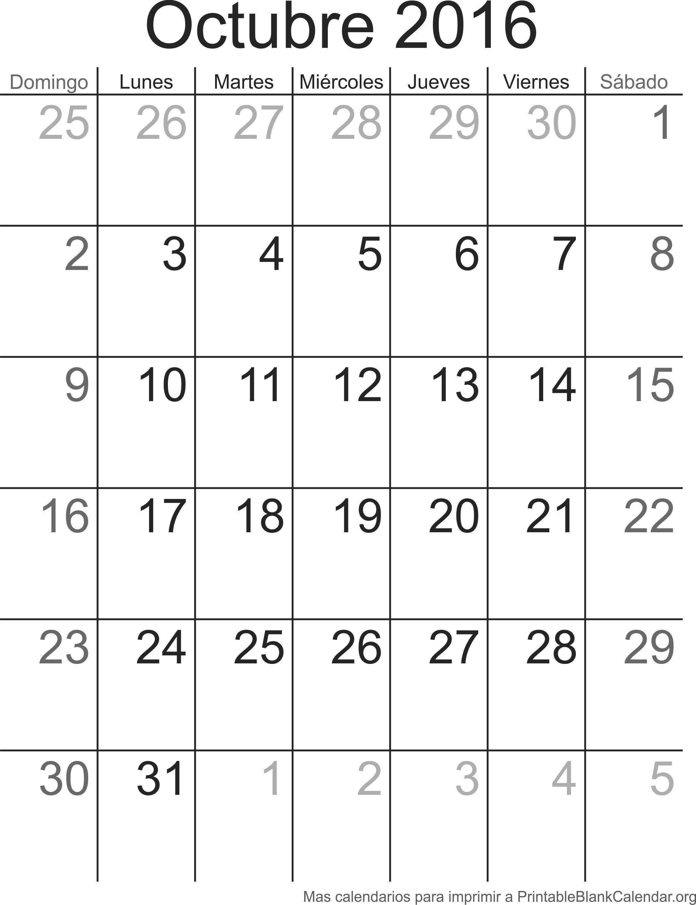 imprimir calendario octubre 2016