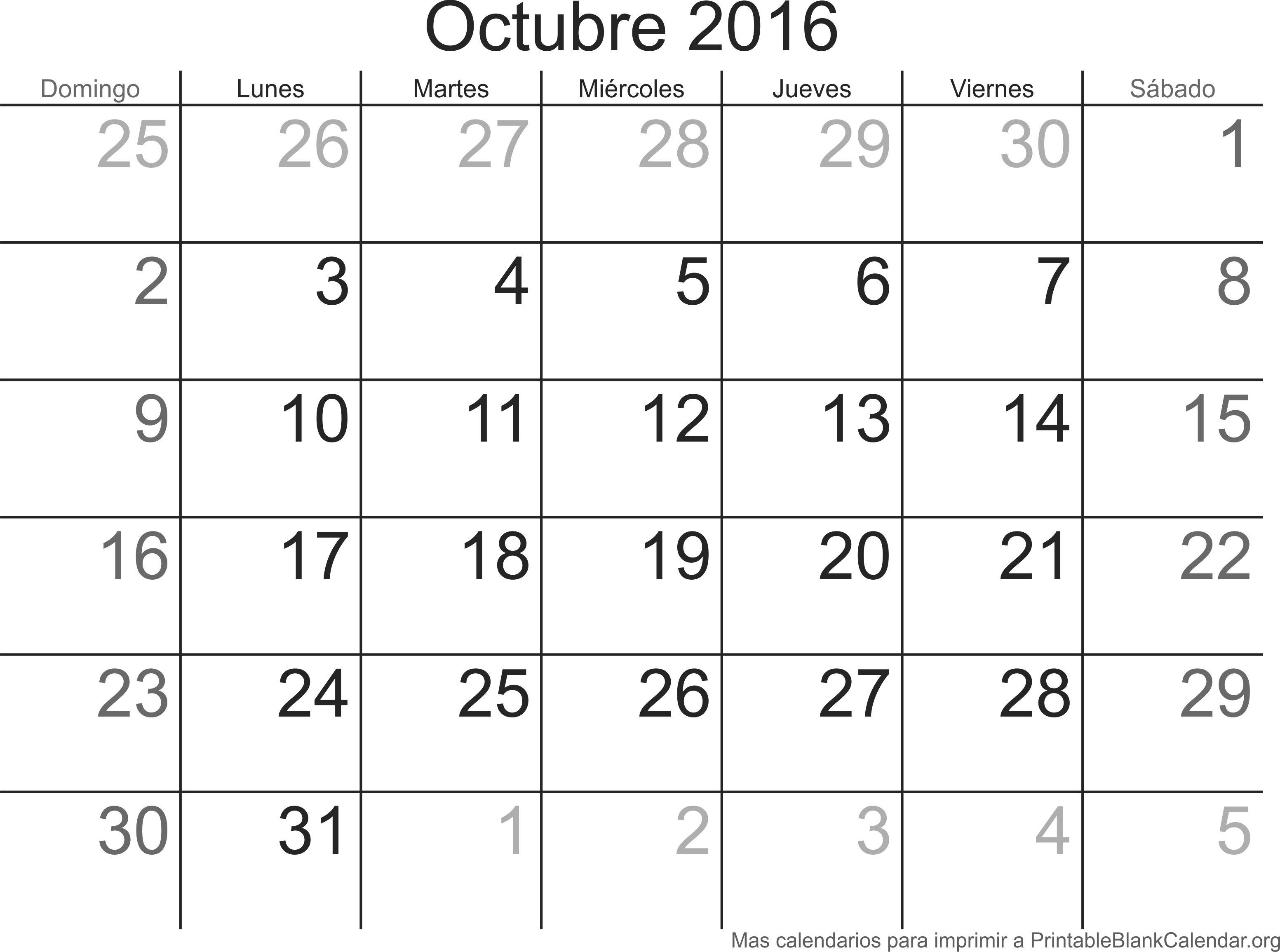 oct 2016 calendario
