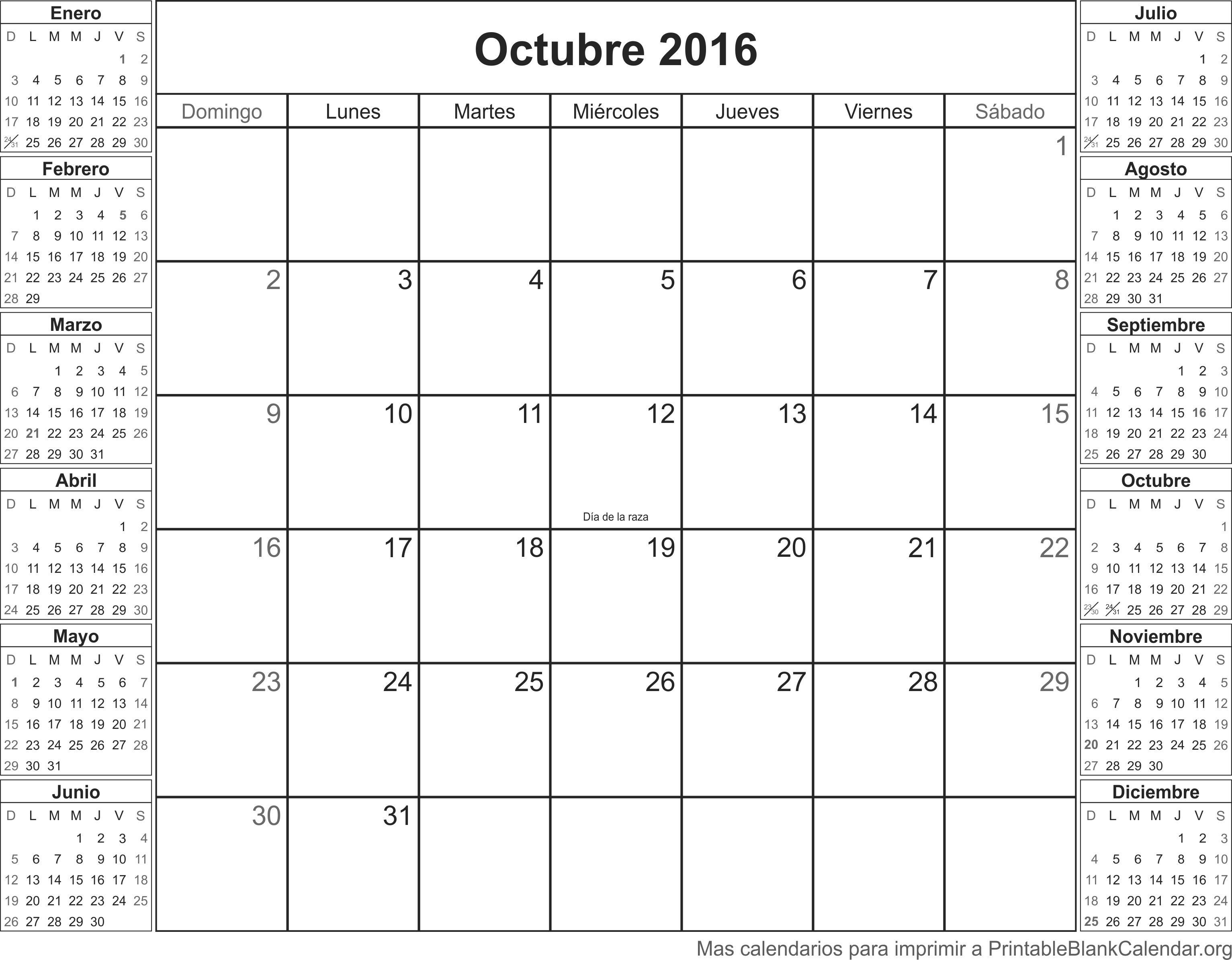octubre 2016 calendario