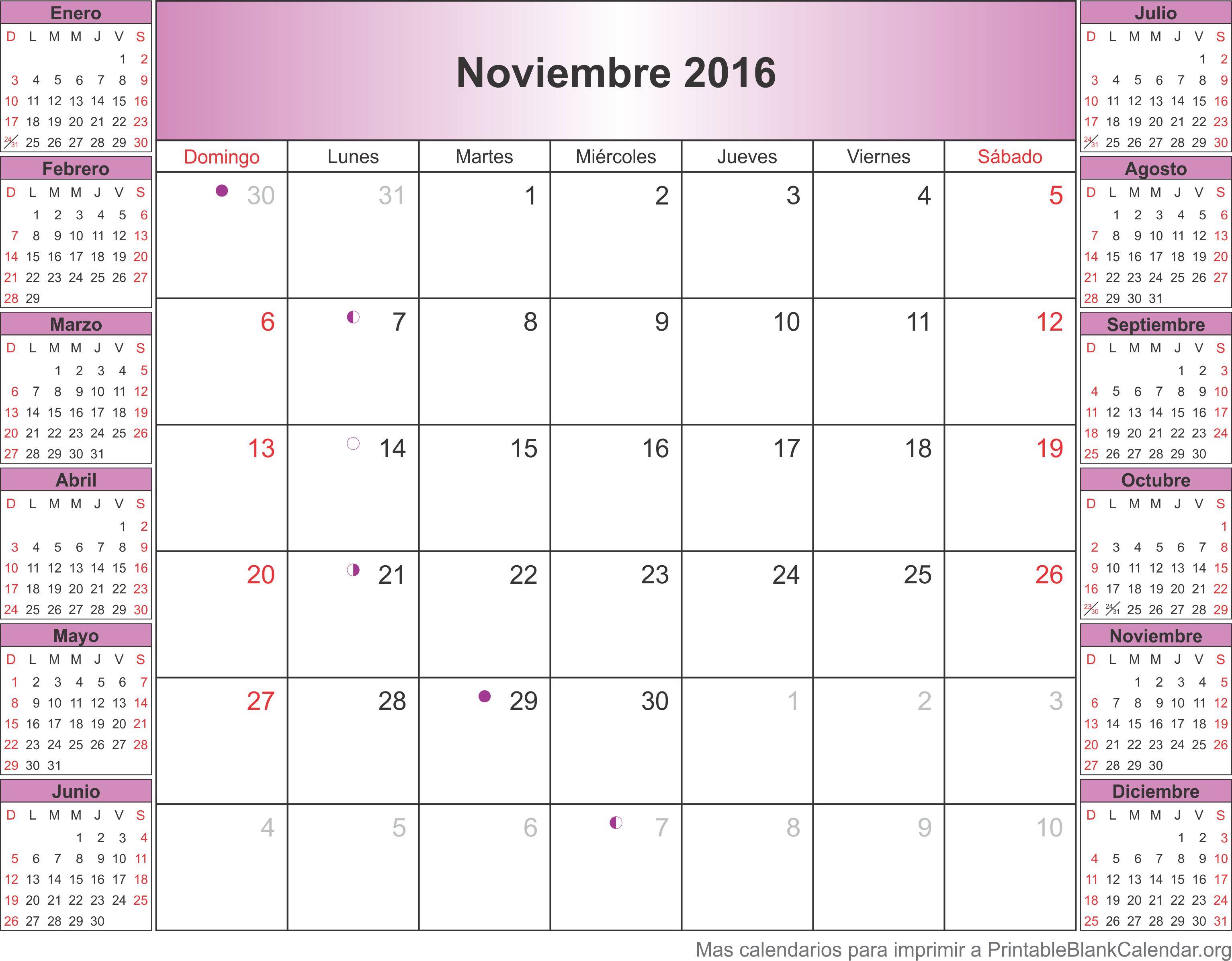 calendario noviembre 2016