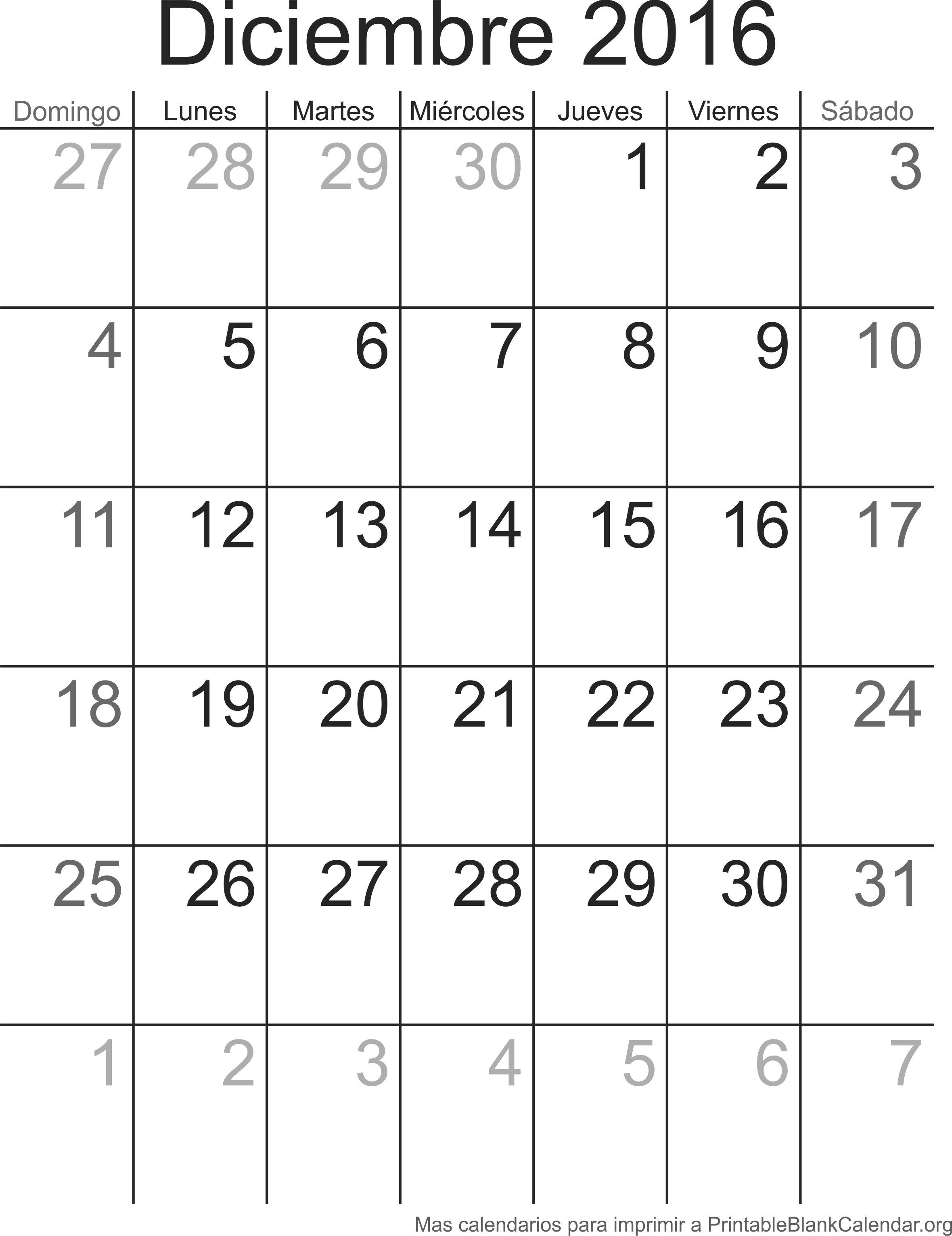 calendario para imprimir deciembre 2016