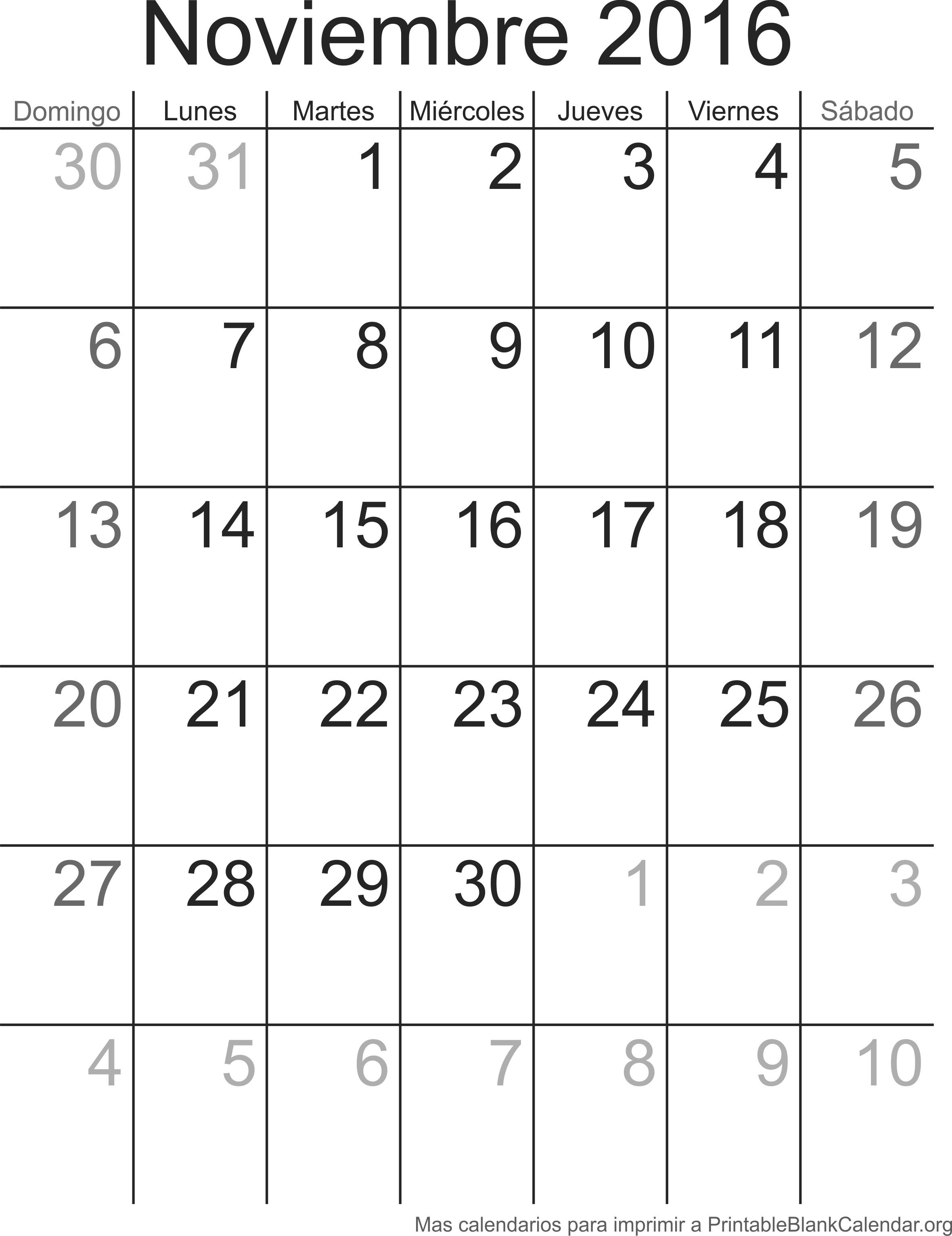 calendario para imprimir noviembre 2016