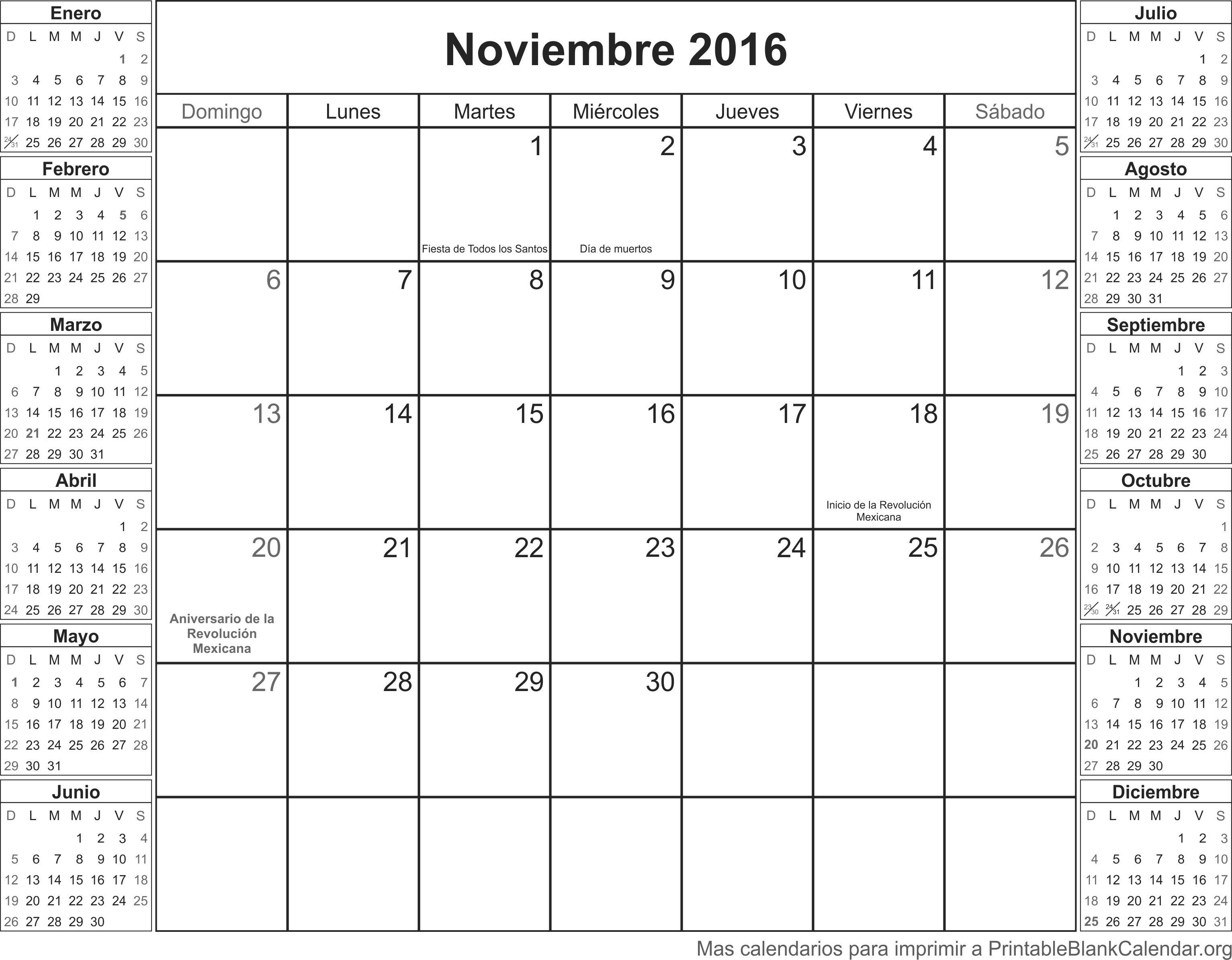 Noviembre 2016 calendario