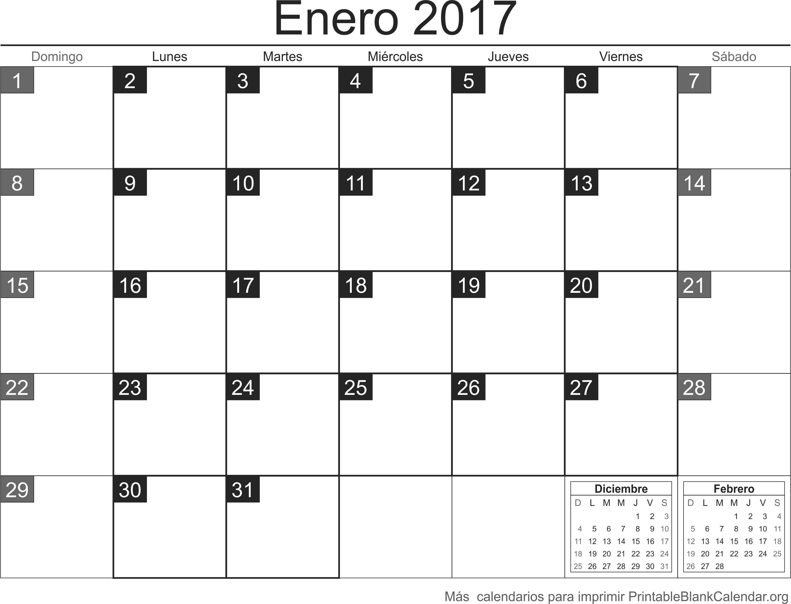 enero 2017 calendario