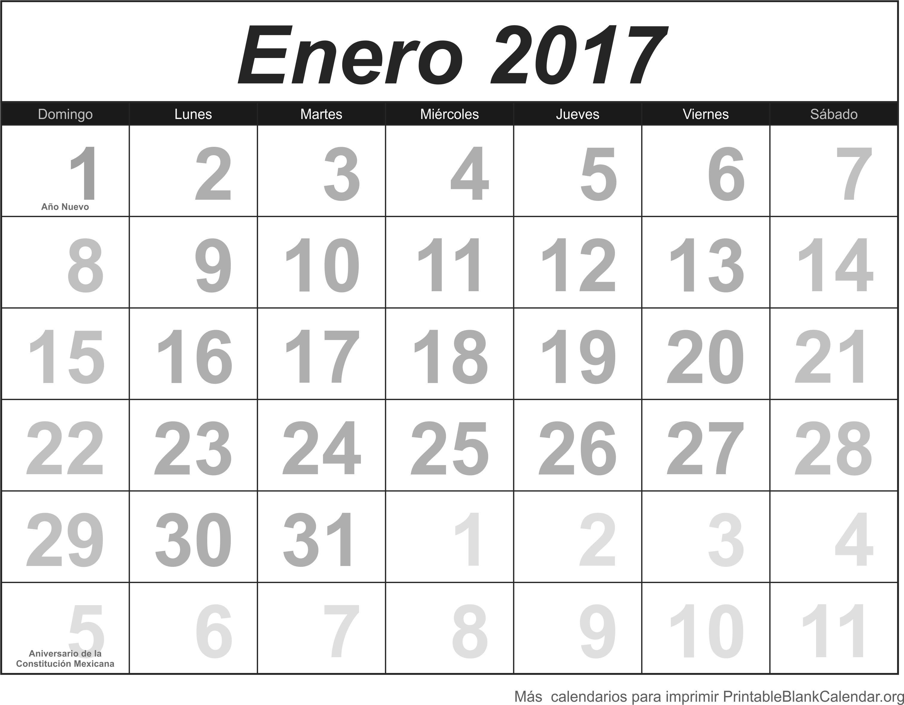 imprimir calendario enero 2017