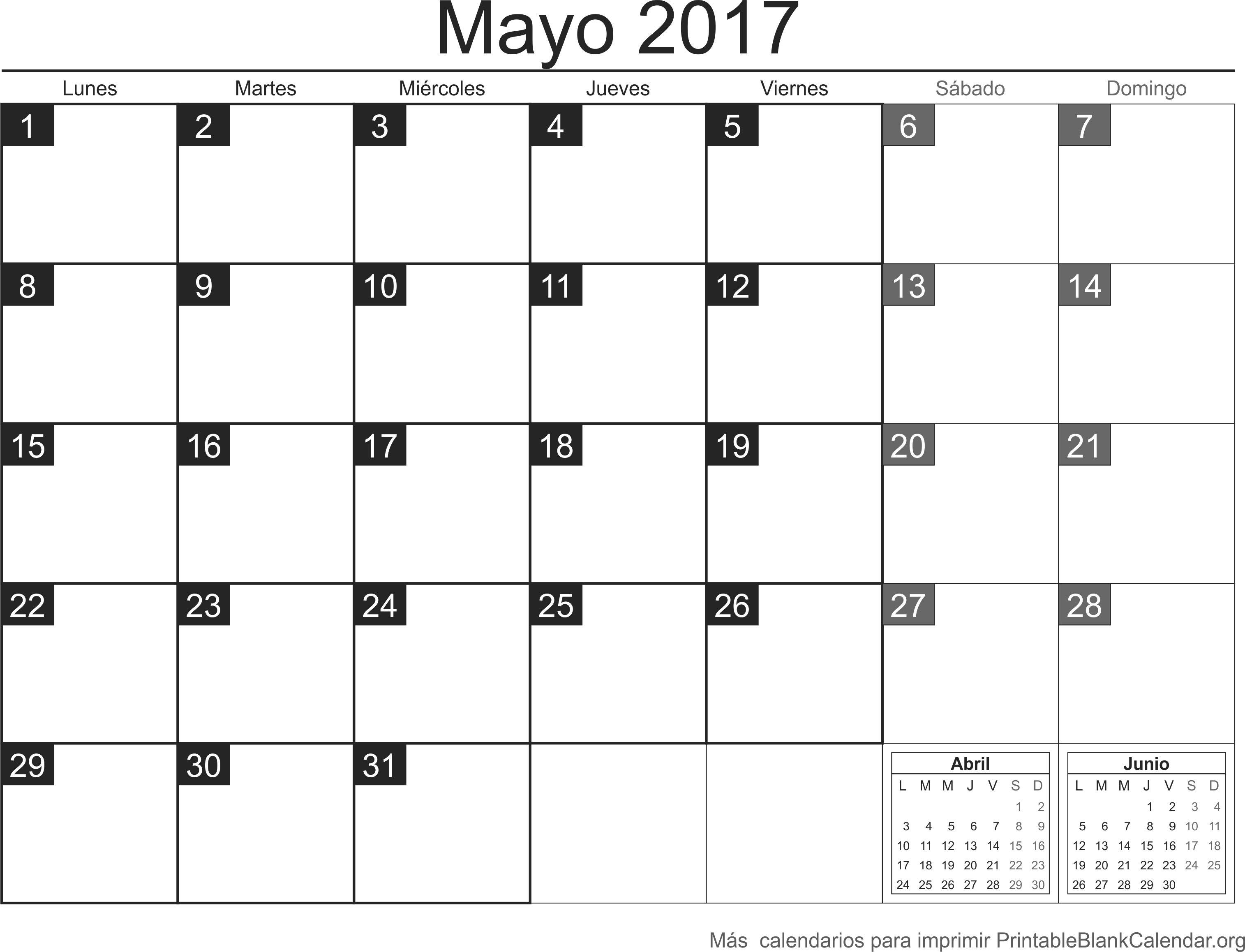 calendario may 2017 para imprimir