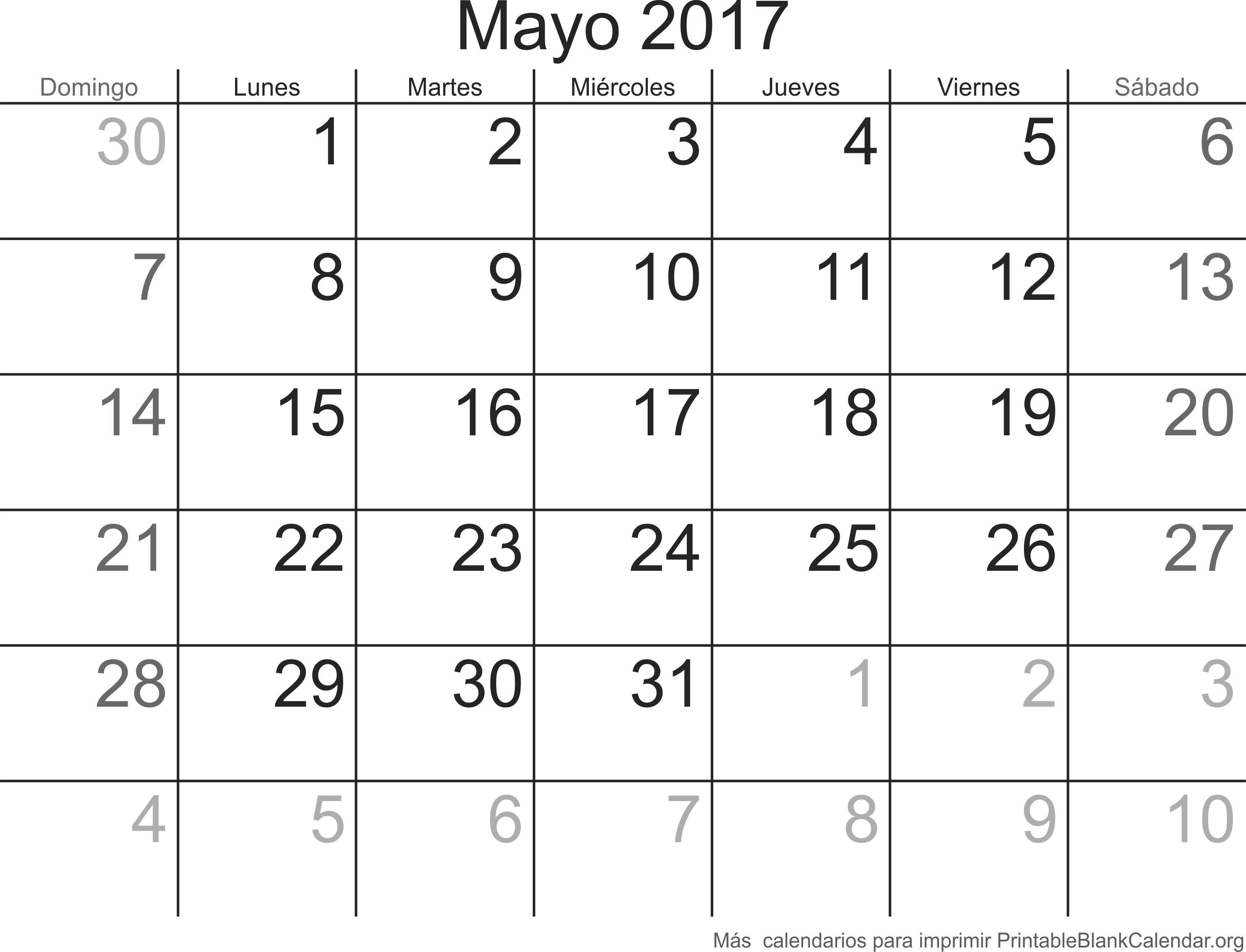 imprimir calendario mayo 2017