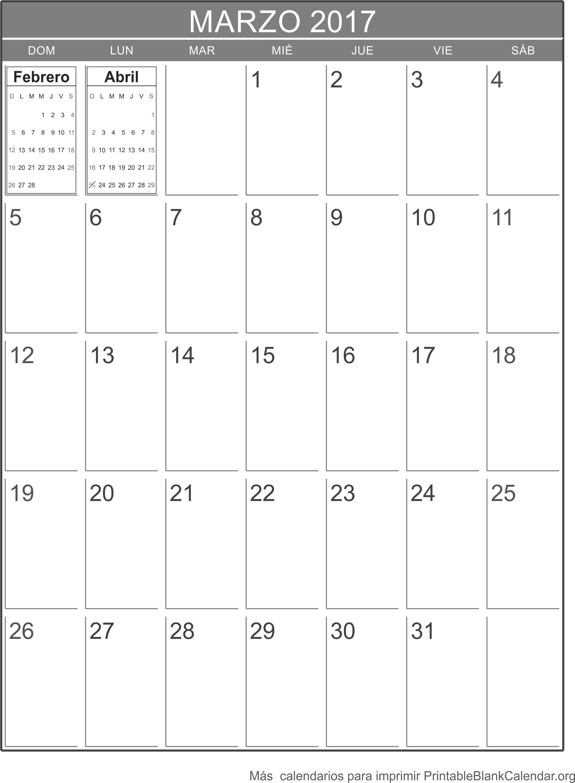 marzo 2017 calendario