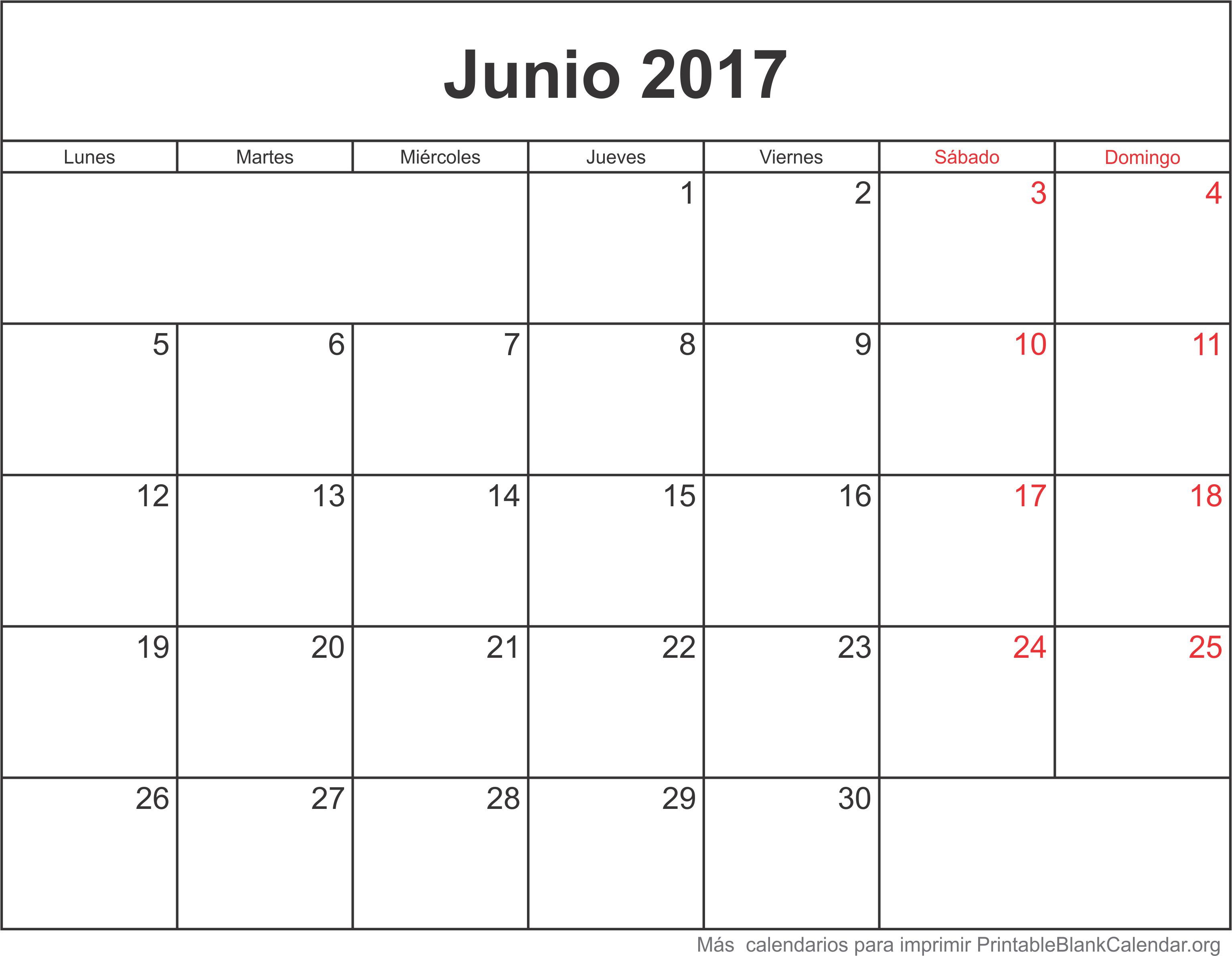 calendario jun 2017 para imprimir