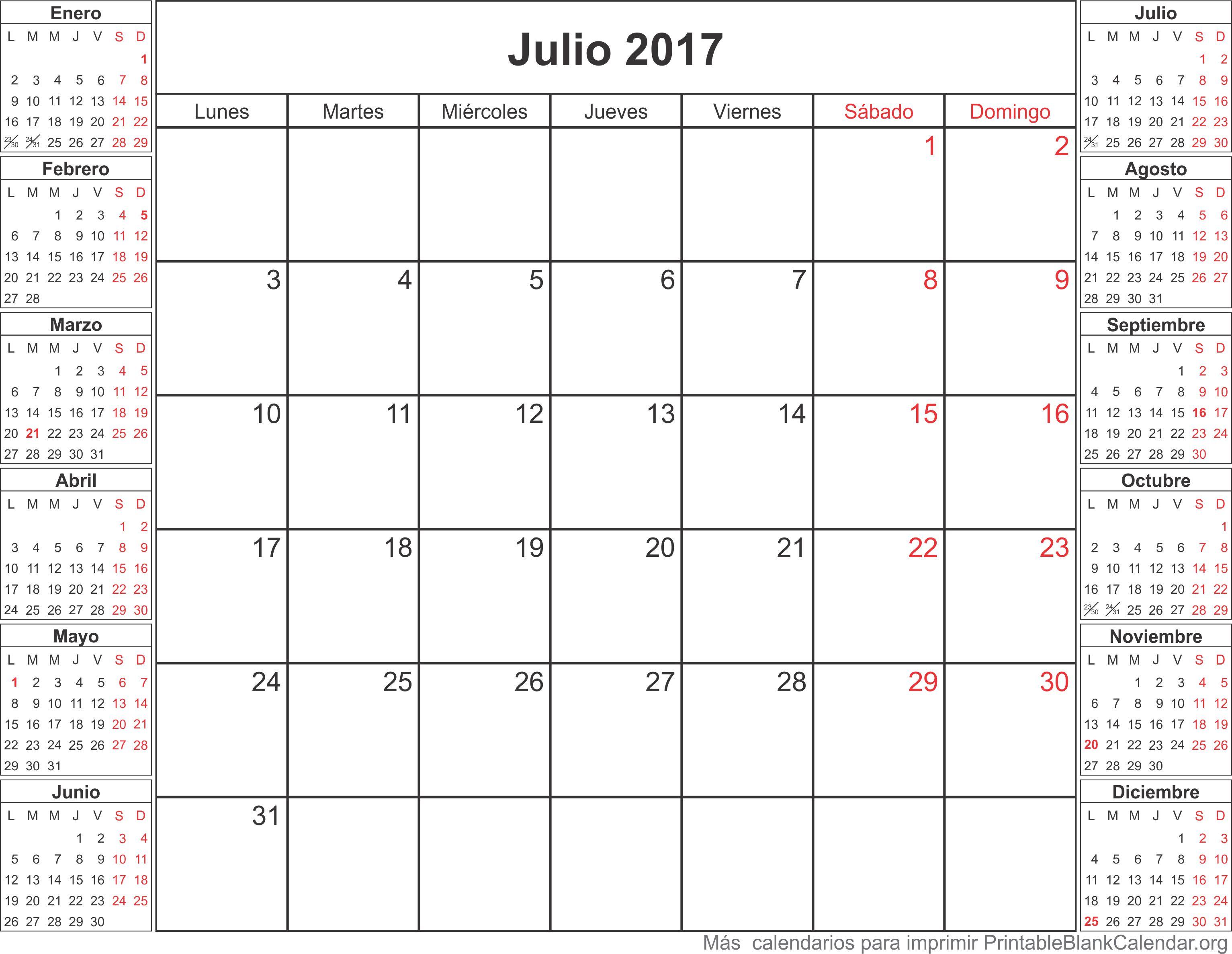 calendario para imprimir julio 2017