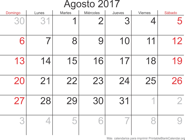 calendario para imprimir ago 2017