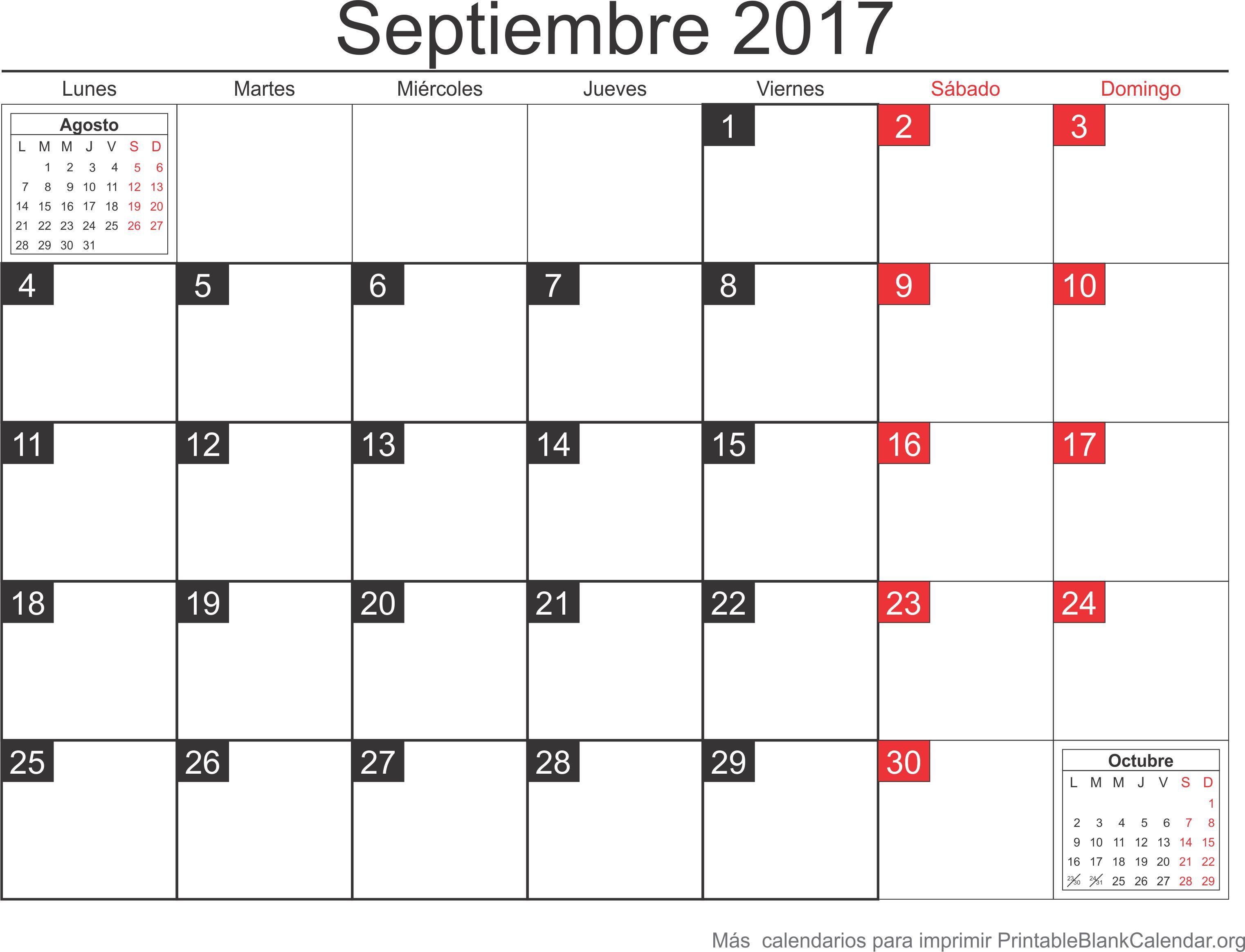 calendario para imprimir septiembre 2017
