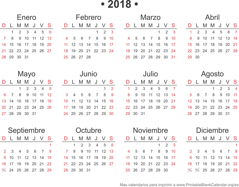 agenda 2018 para imprimir