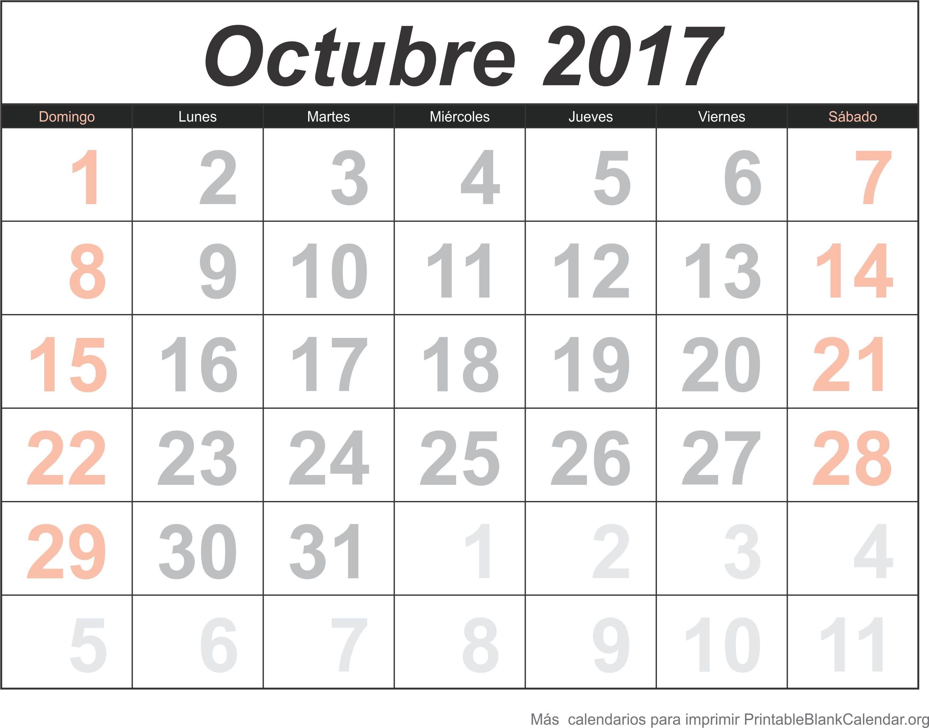 calendario oct 2017 para imprimir