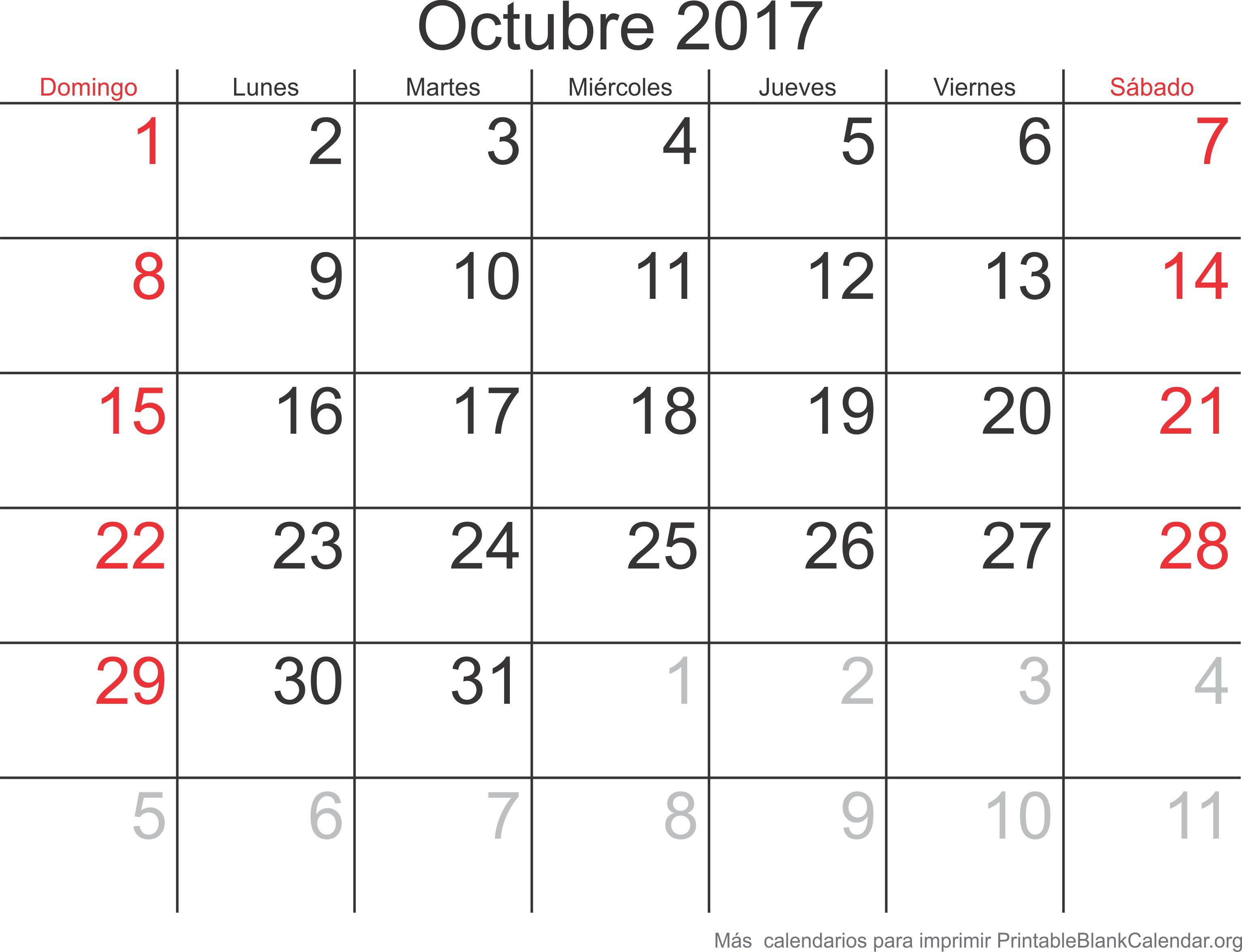 oct 2017 calendario