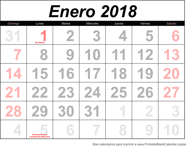 calendario ener 2018