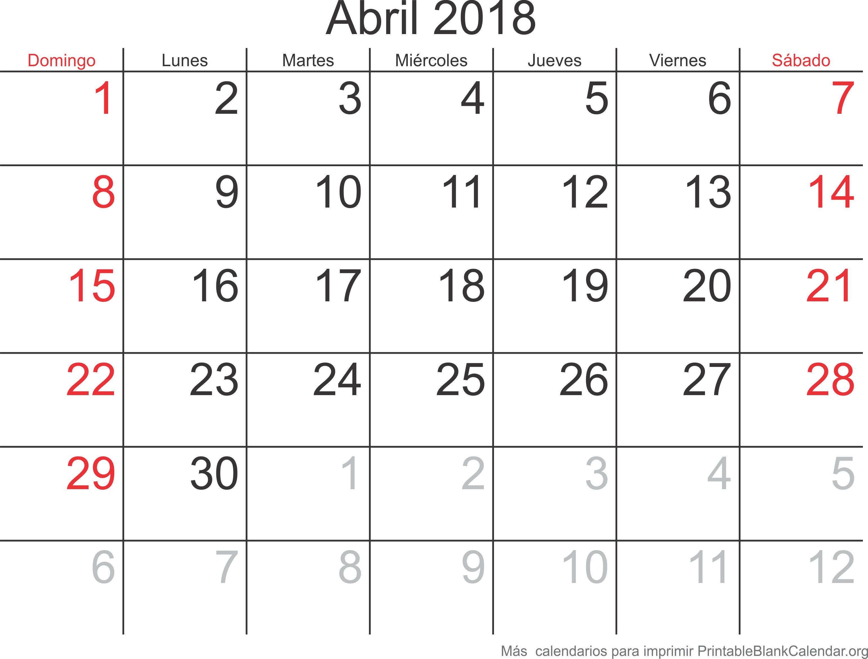calendario abr 2018