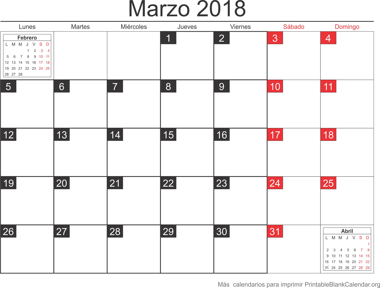 calendario mar 2018 para imprimir