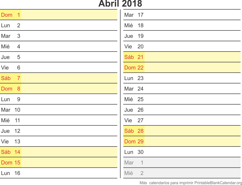 calendario para imprimir abr 2018