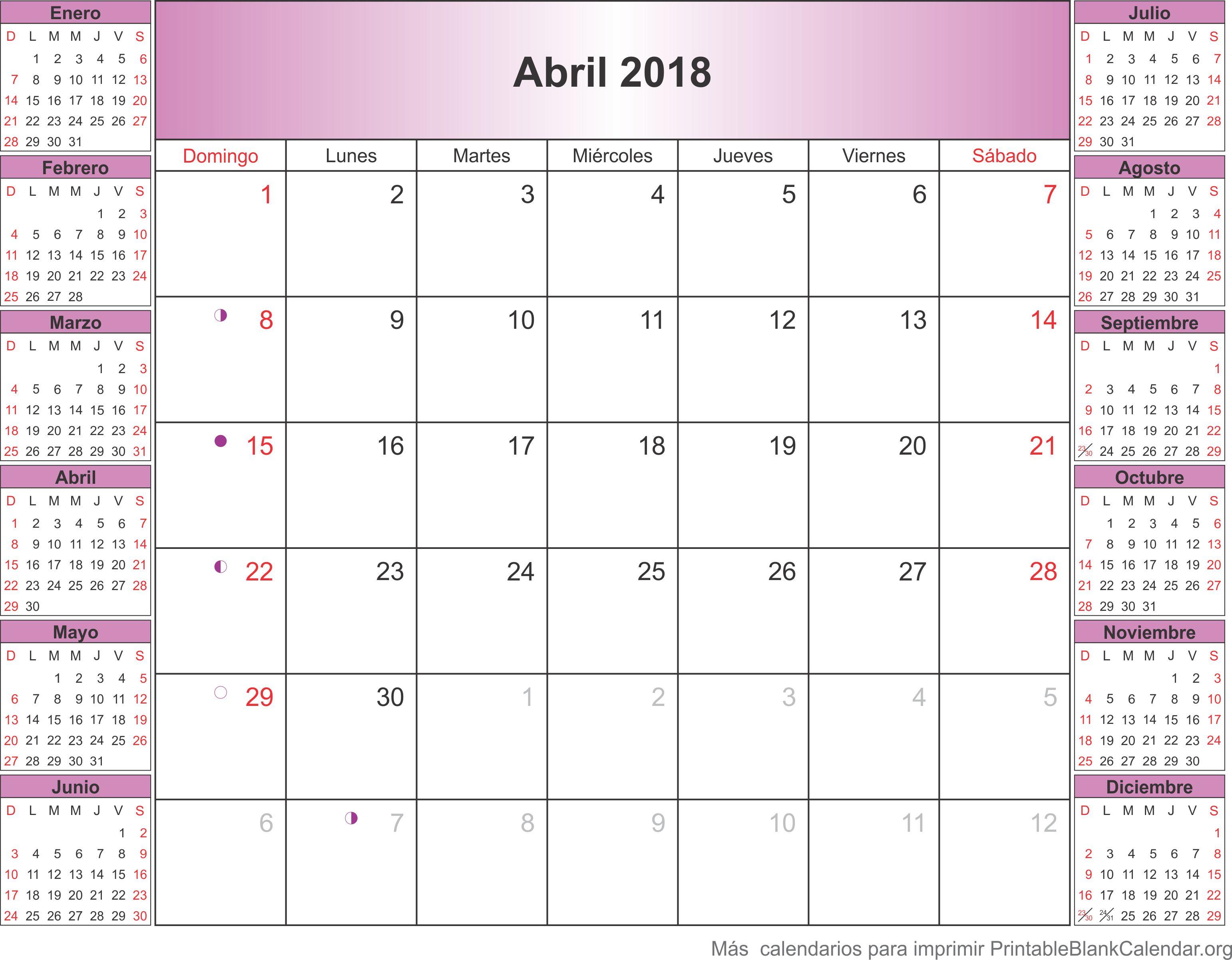 calendario para imprimir abril 2018
