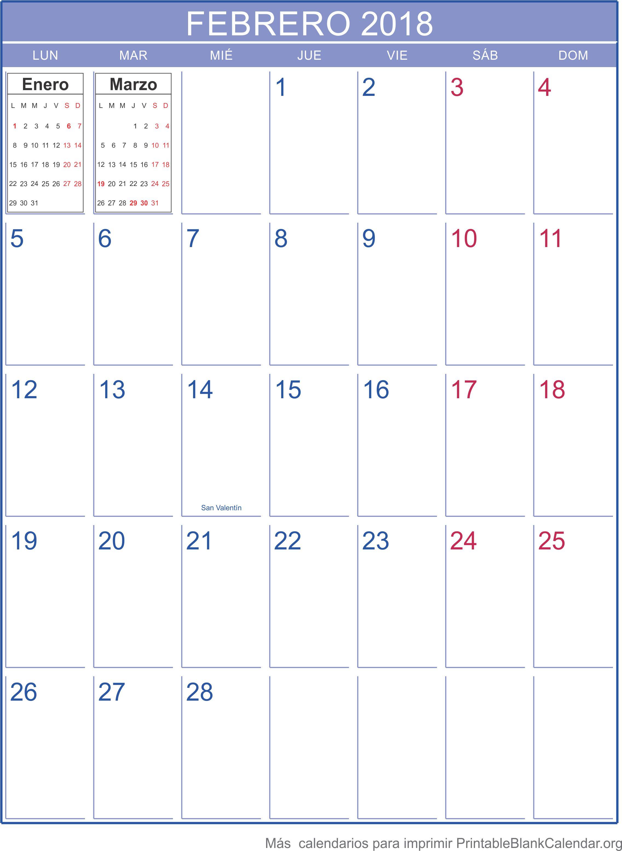 imprimir calendario febrero 2018