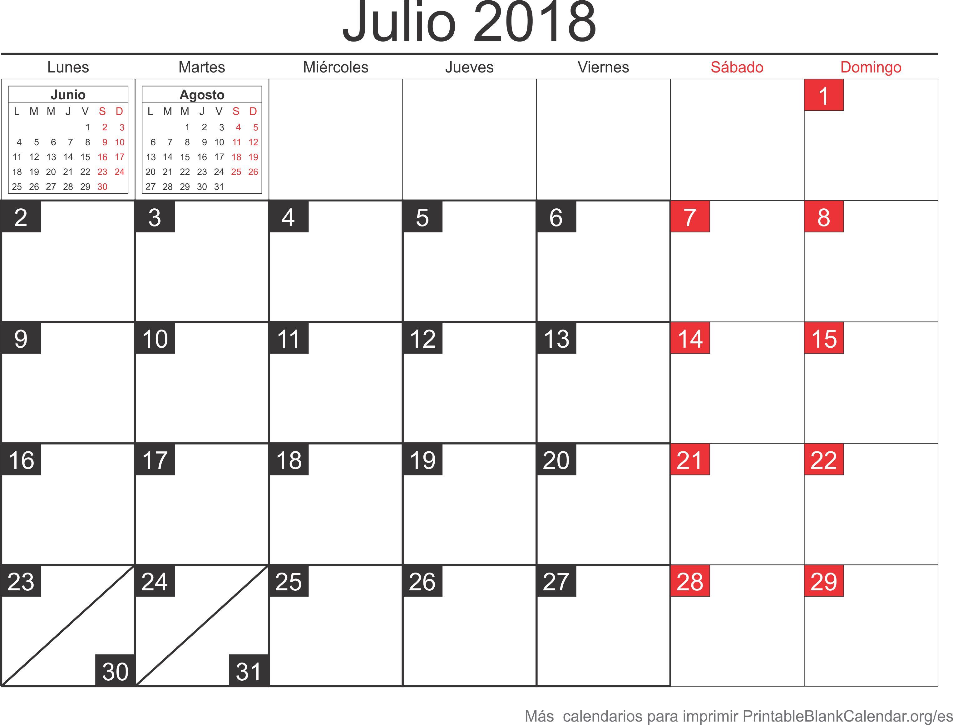 calendario jul 2018 para imprimir