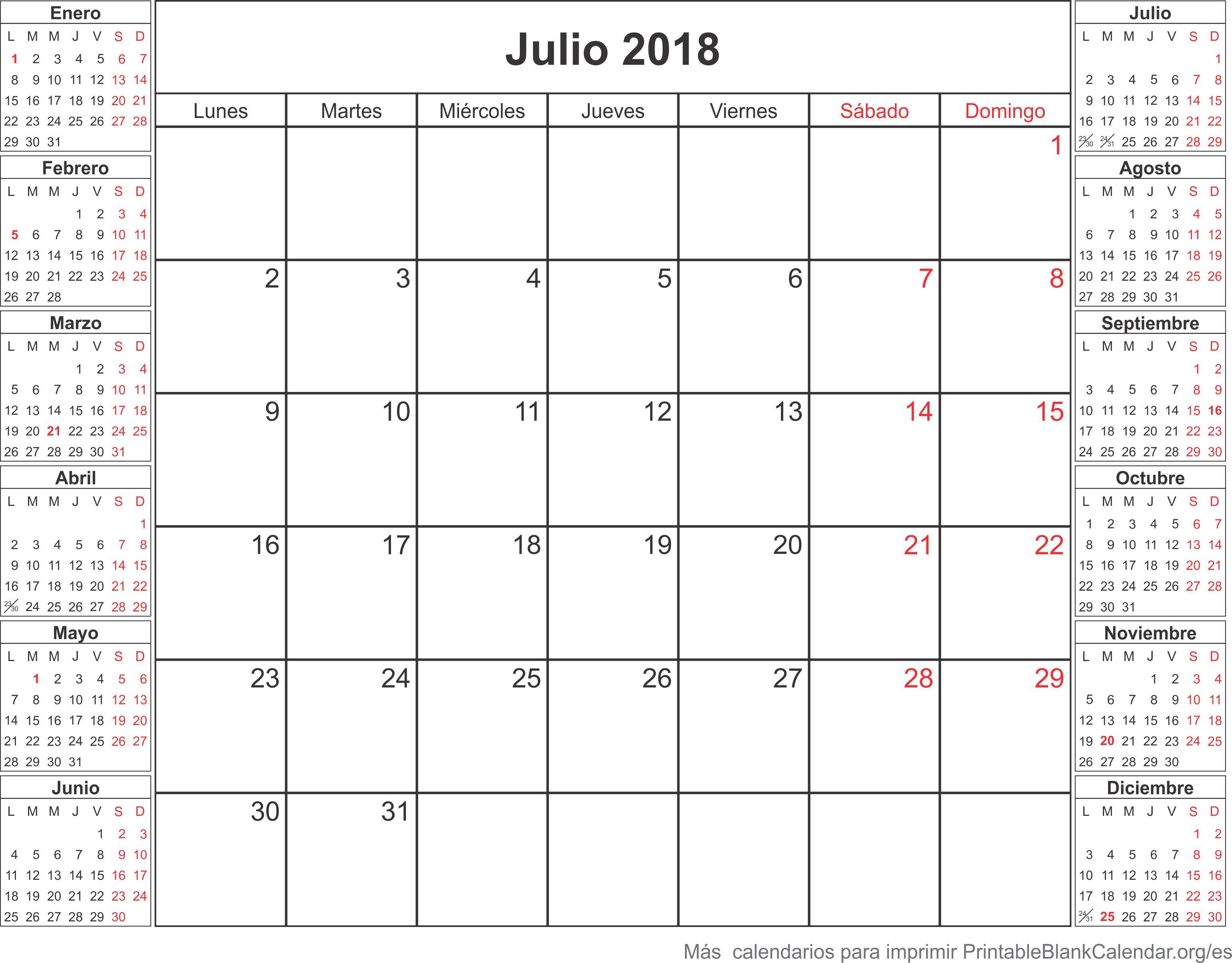 calendario para imprimir julio 2018