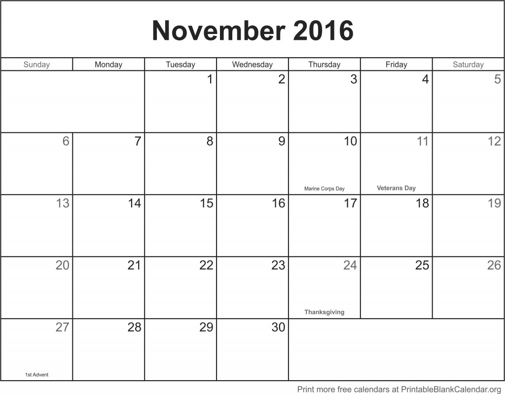 november 2016 printable blank calendar printable blank. Black Bedroom Furniture Sets. Home Design Ideas