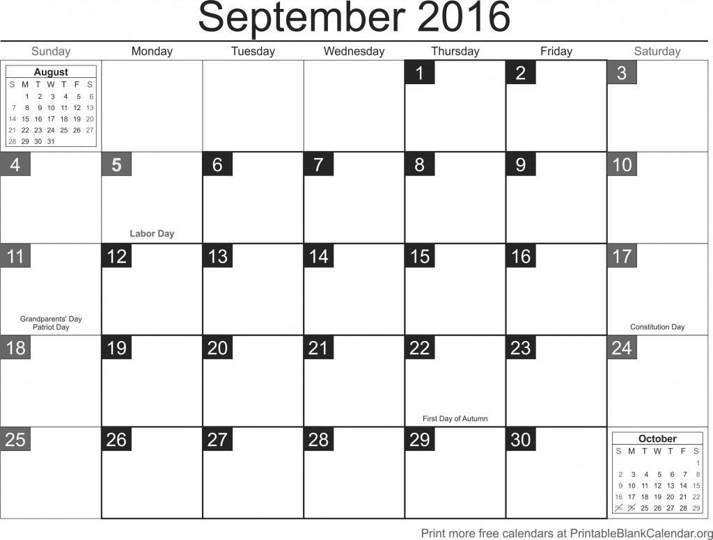 September 2016 Free Printable Calendar Templates ...
