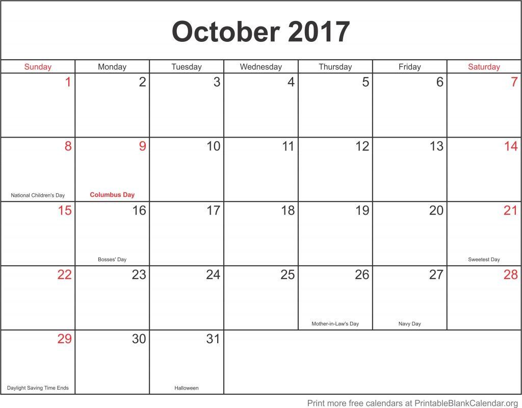 Blank Calendar You Can Fill In : October free printable calendar blank